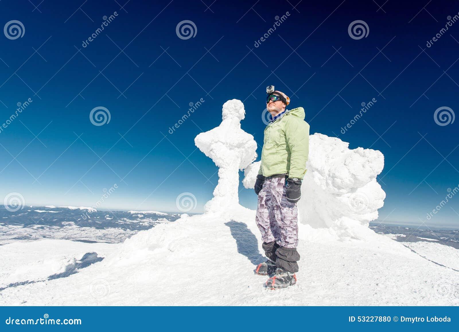 Montaña, top, escalador