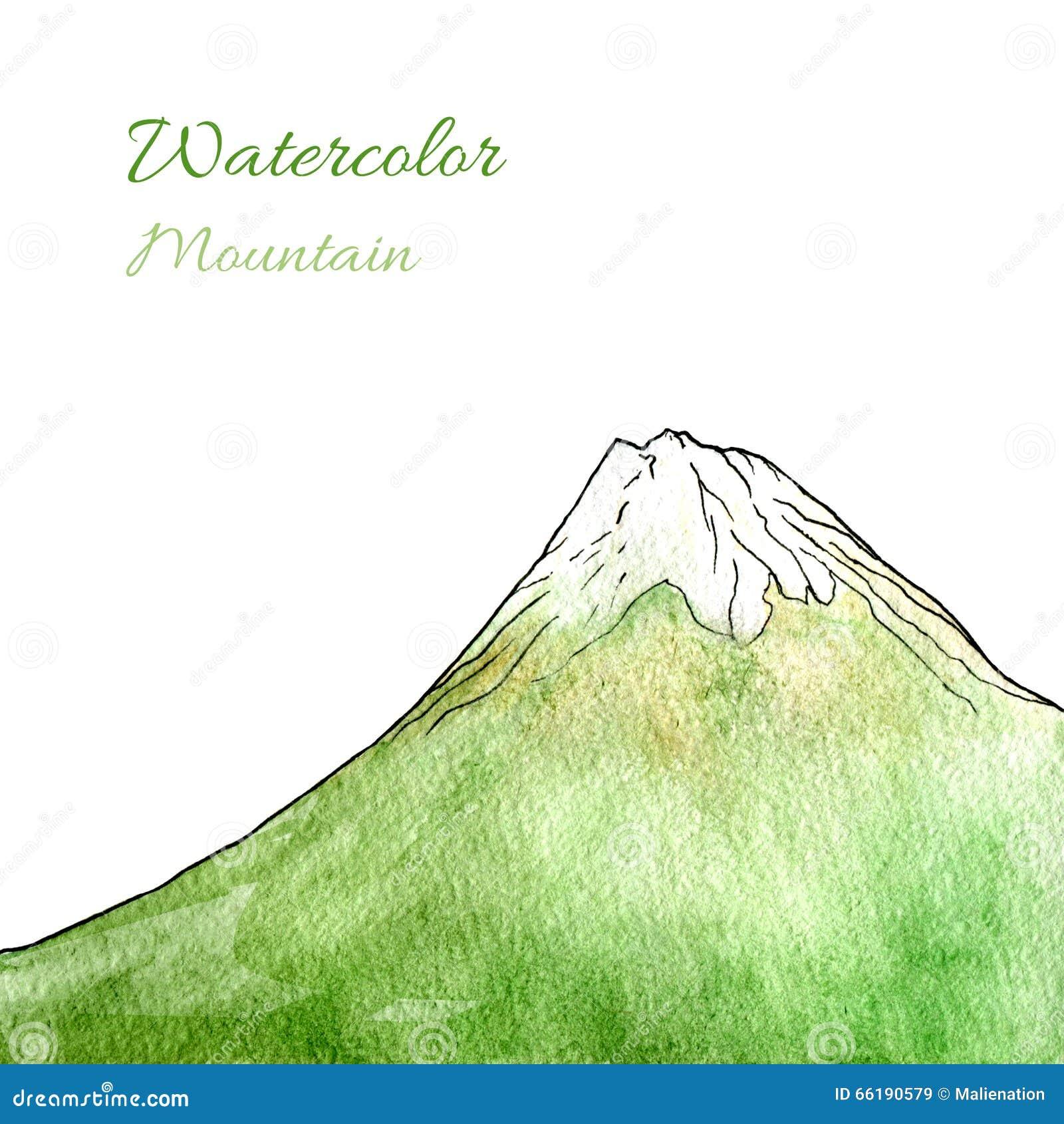 Montaña Verde Dibujada Mano De La Acuarela Ilustración Aislada ...