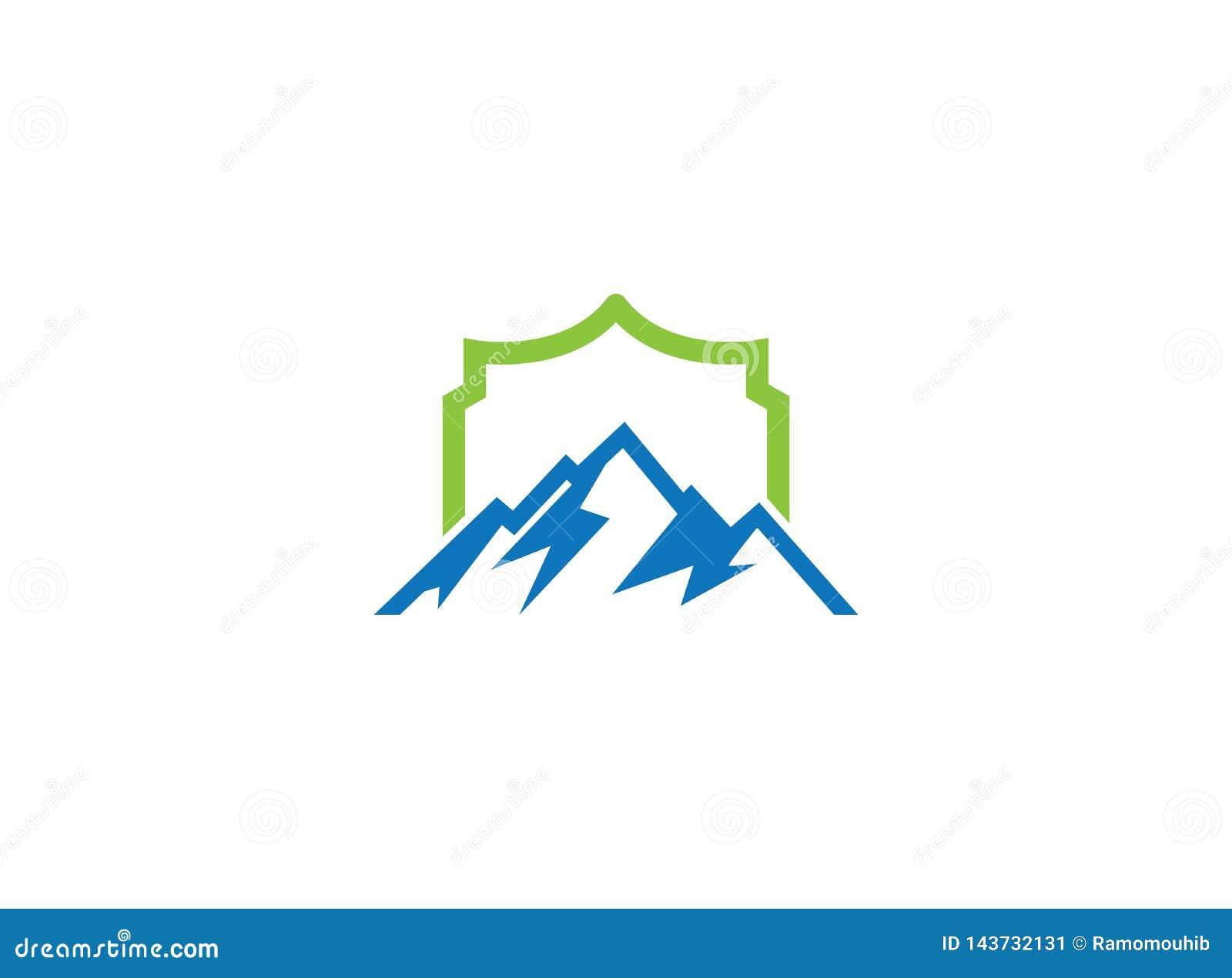 Montañas azules grandes con el sol encima de y la nieve del hielo para el ejemplo del diseño del logotipo
