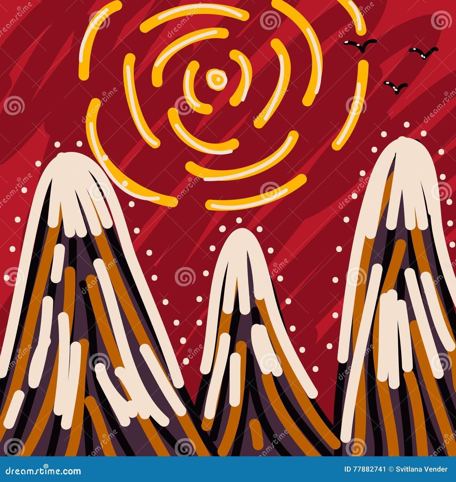 Montañas Con Los Picos Nevosos Ilustración del Vector