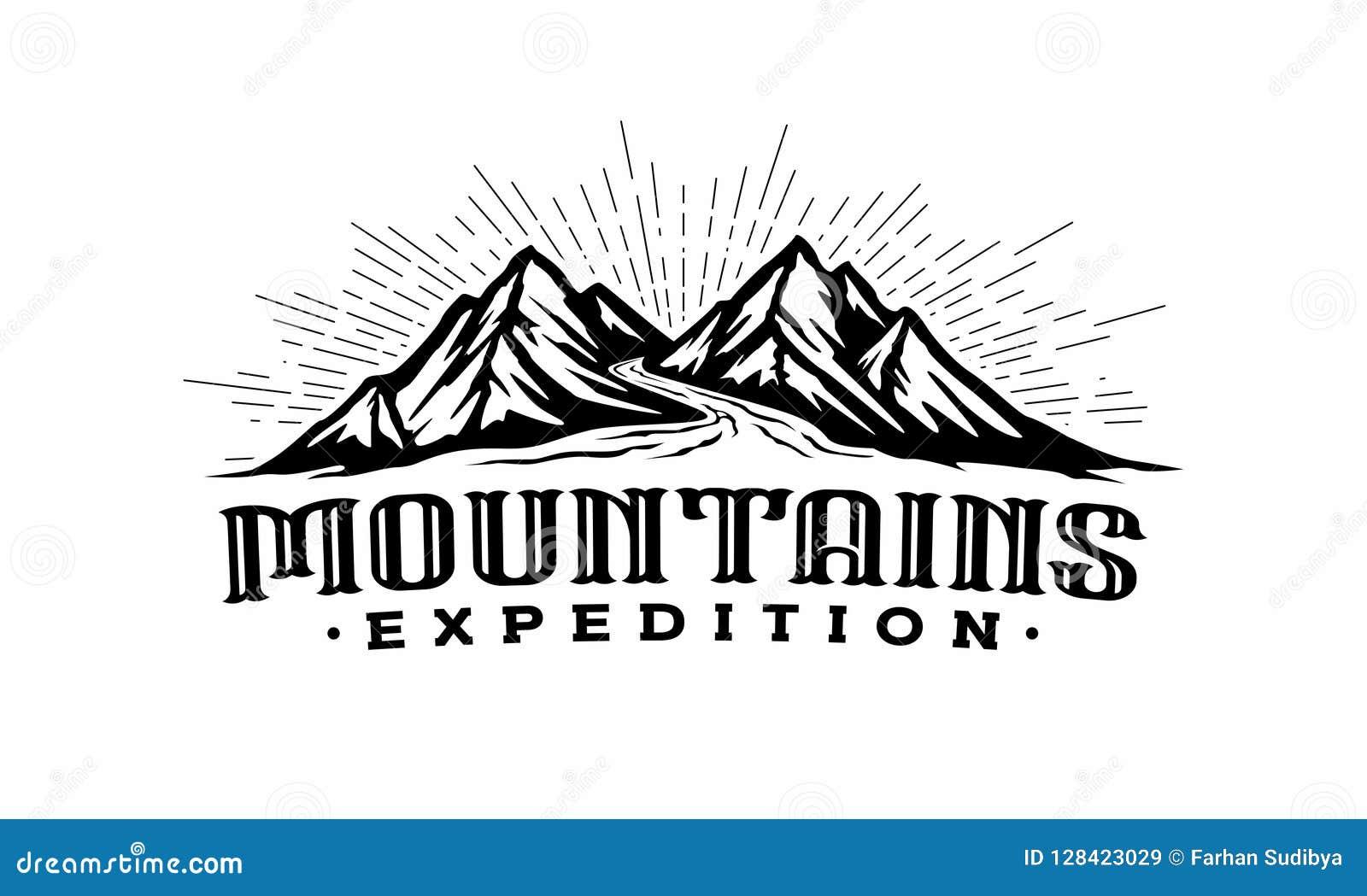 Montañas de los gemelos con la plantilla del logotipo del río