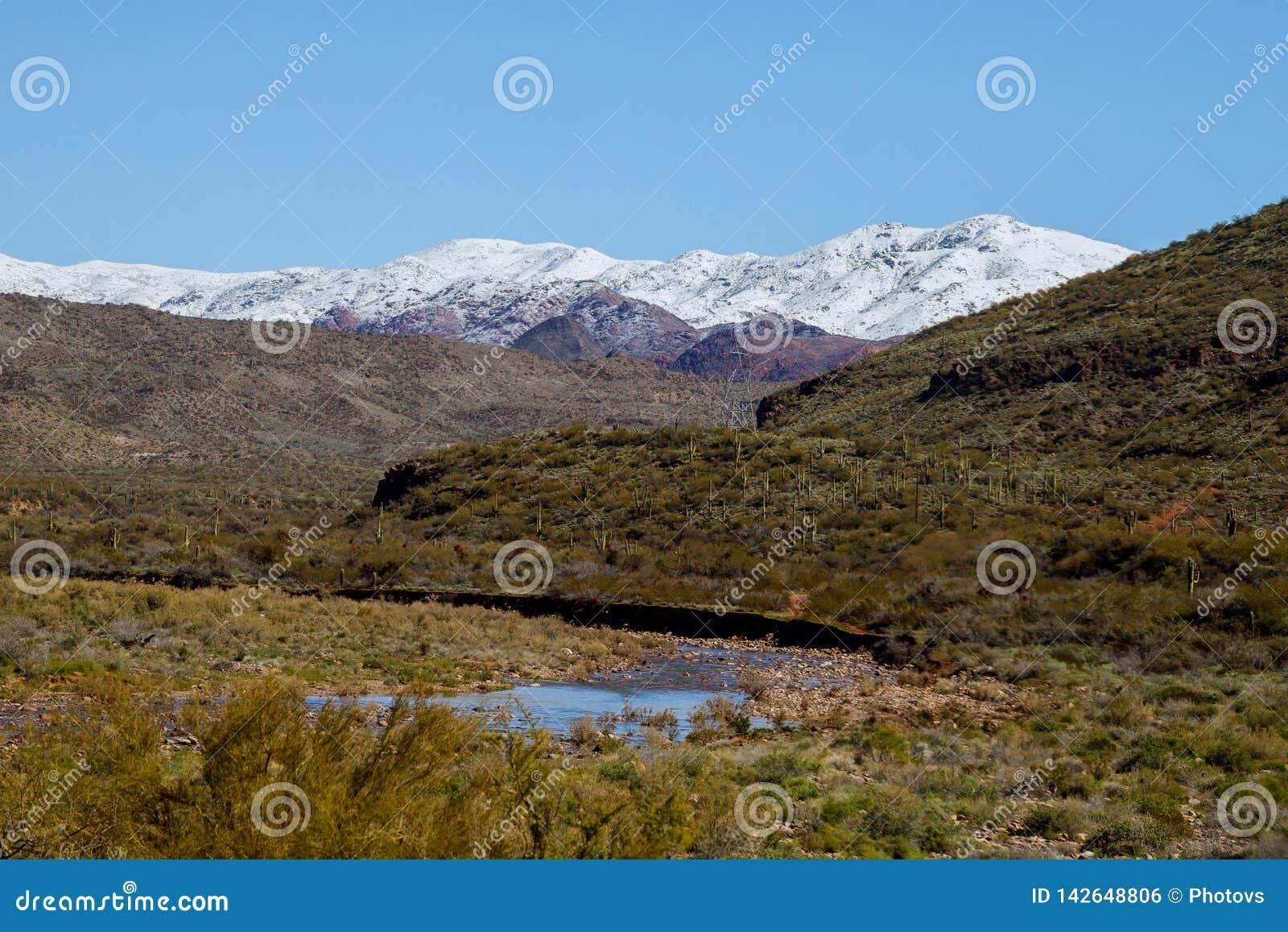 Montañas nevadas en el desierto del sudoeste