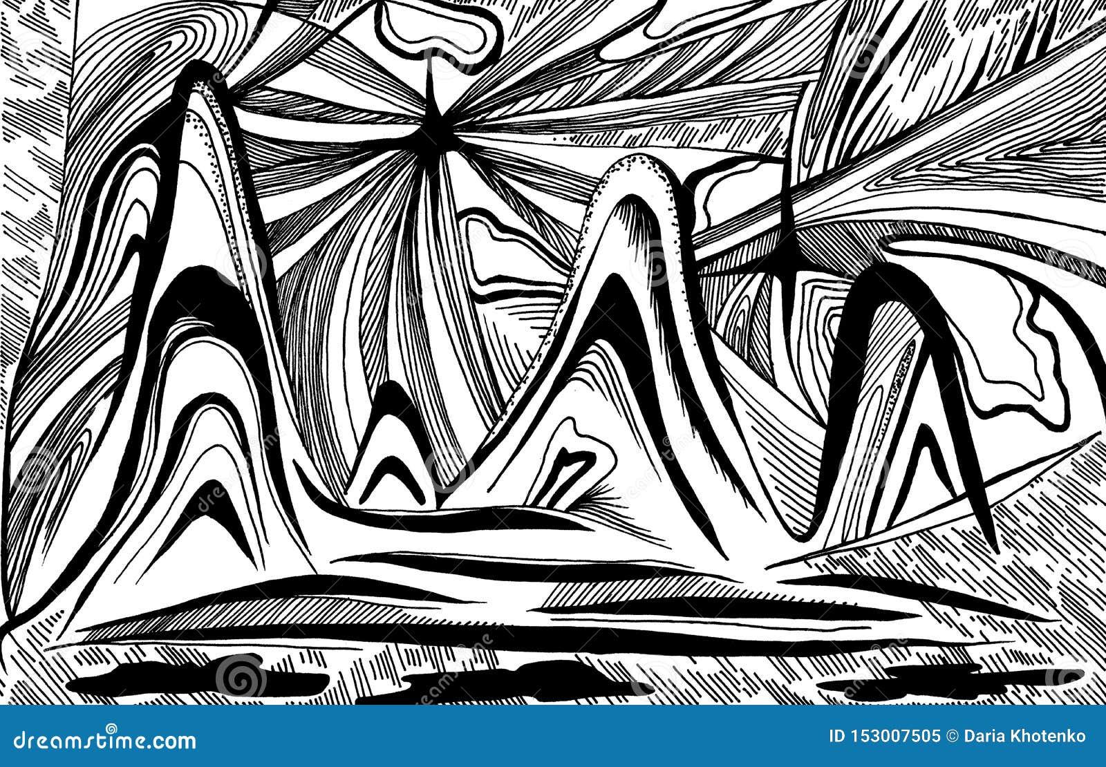 Montañas y ondas de la abstracción