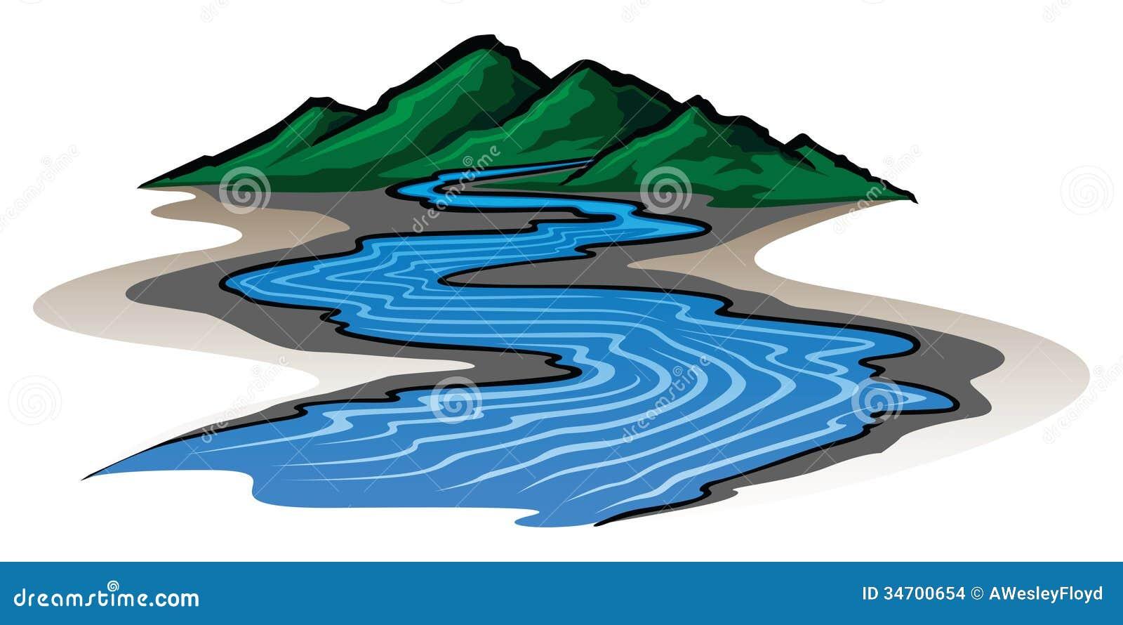 Montañas y río