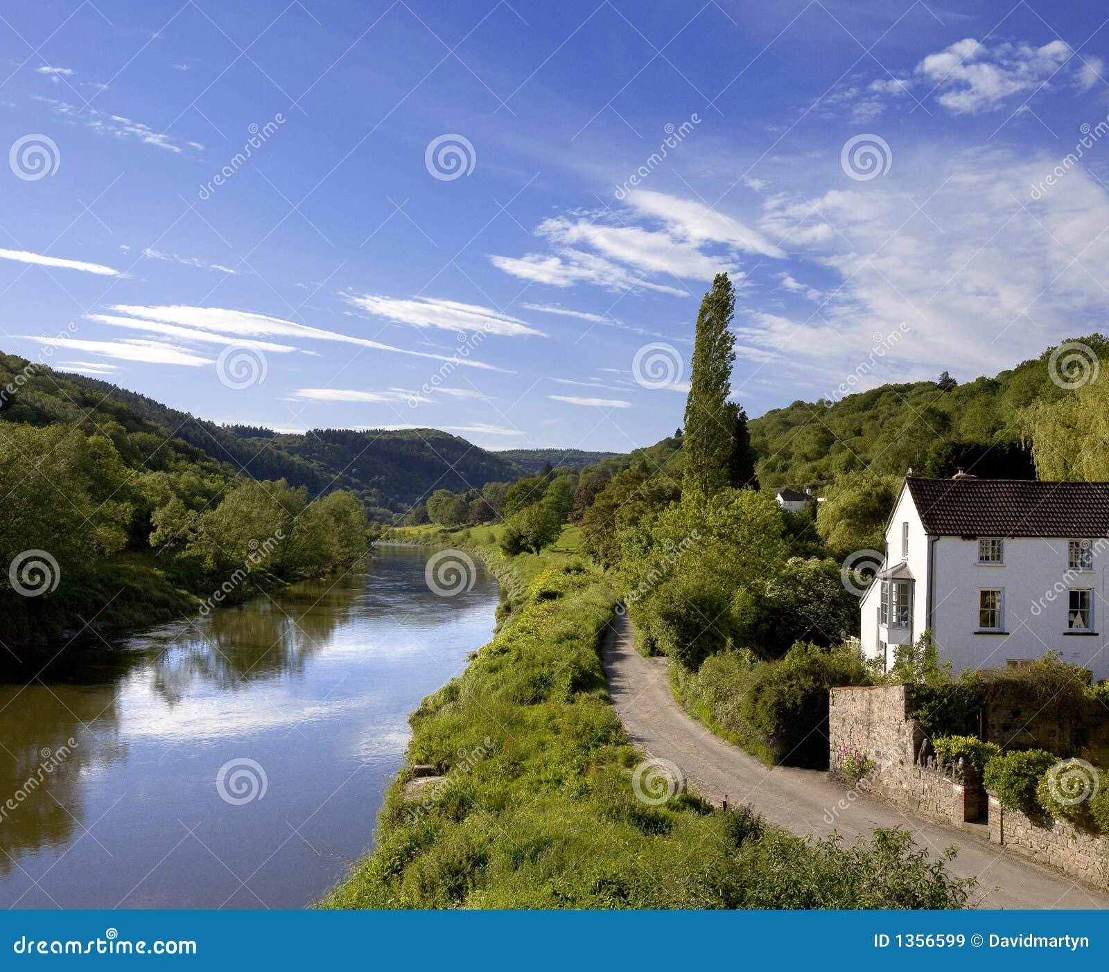 Montage en étoile de fleuve l anglais du Pays de Galles de monmouthshire de gloucestershire de vallée de montage en étoile