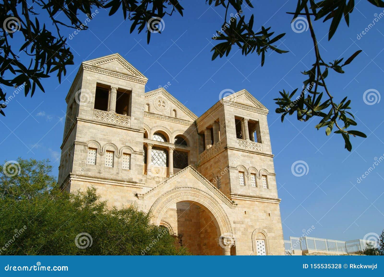 Montagem antiga Tabor da igreja, Israel