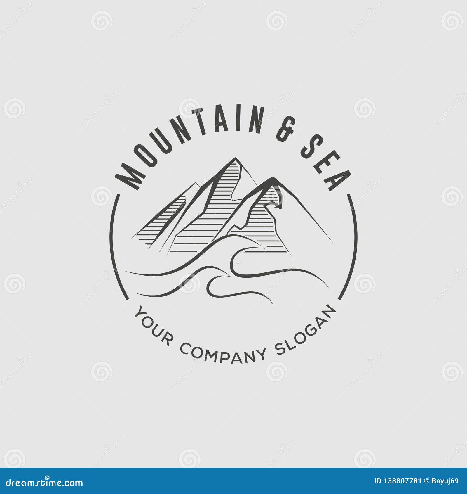 Montagna e modello di progettazione di logo del mare
