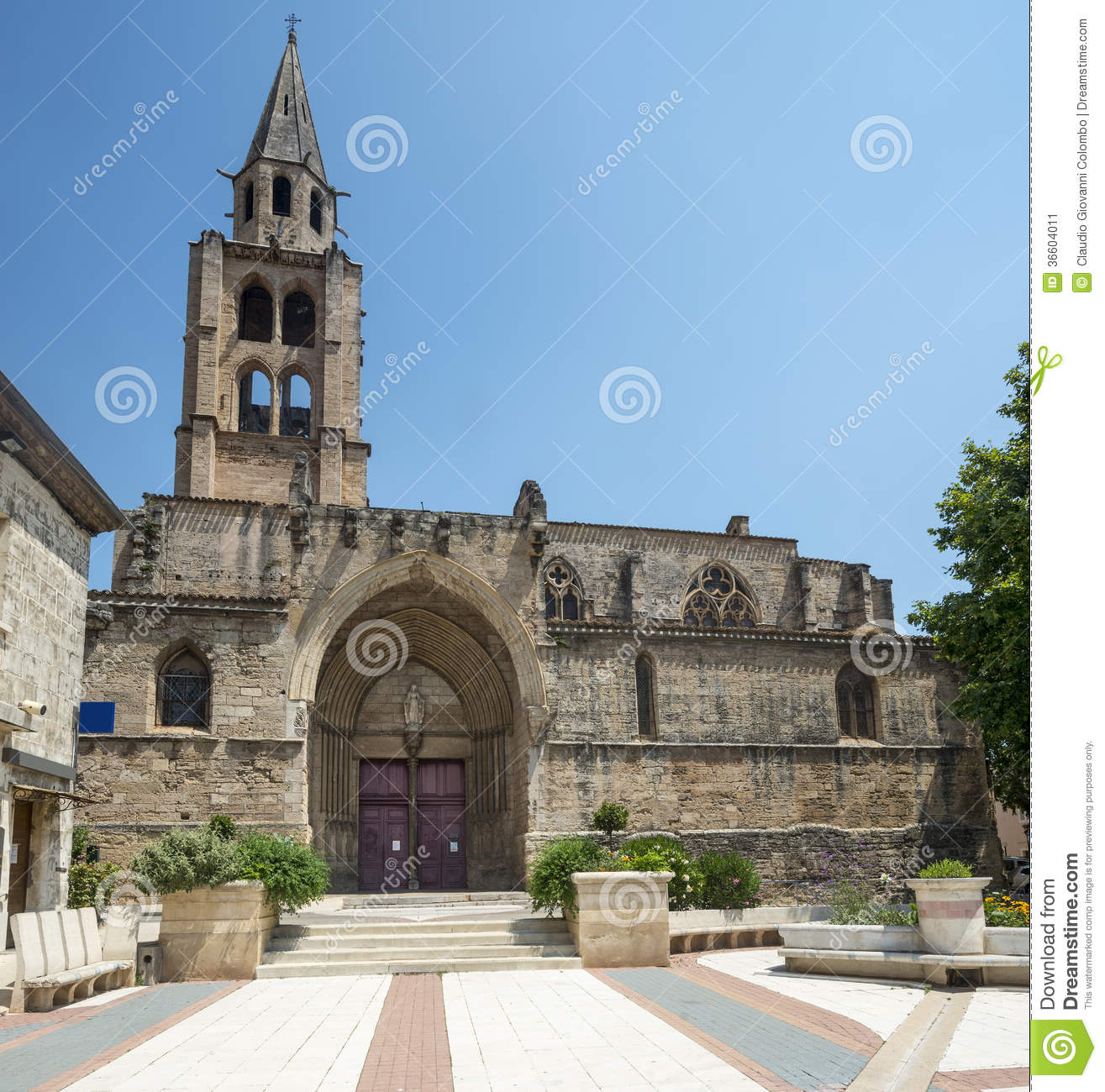 Montagnac, Gothic Church Stock Image - Image: 36604011
