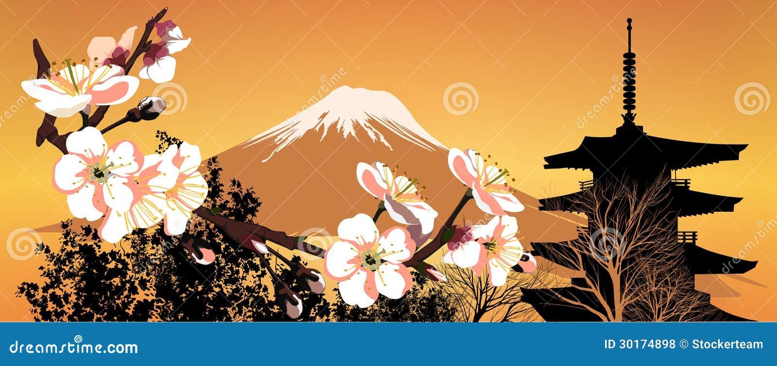 Montagne del giapponese di sakura della cartolina for Prezzi case giapponesi