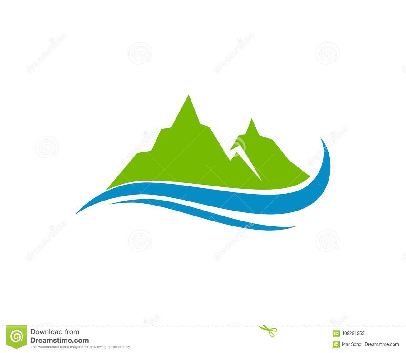 Montagne Et Eau Logo Business Template Vector Illustration De