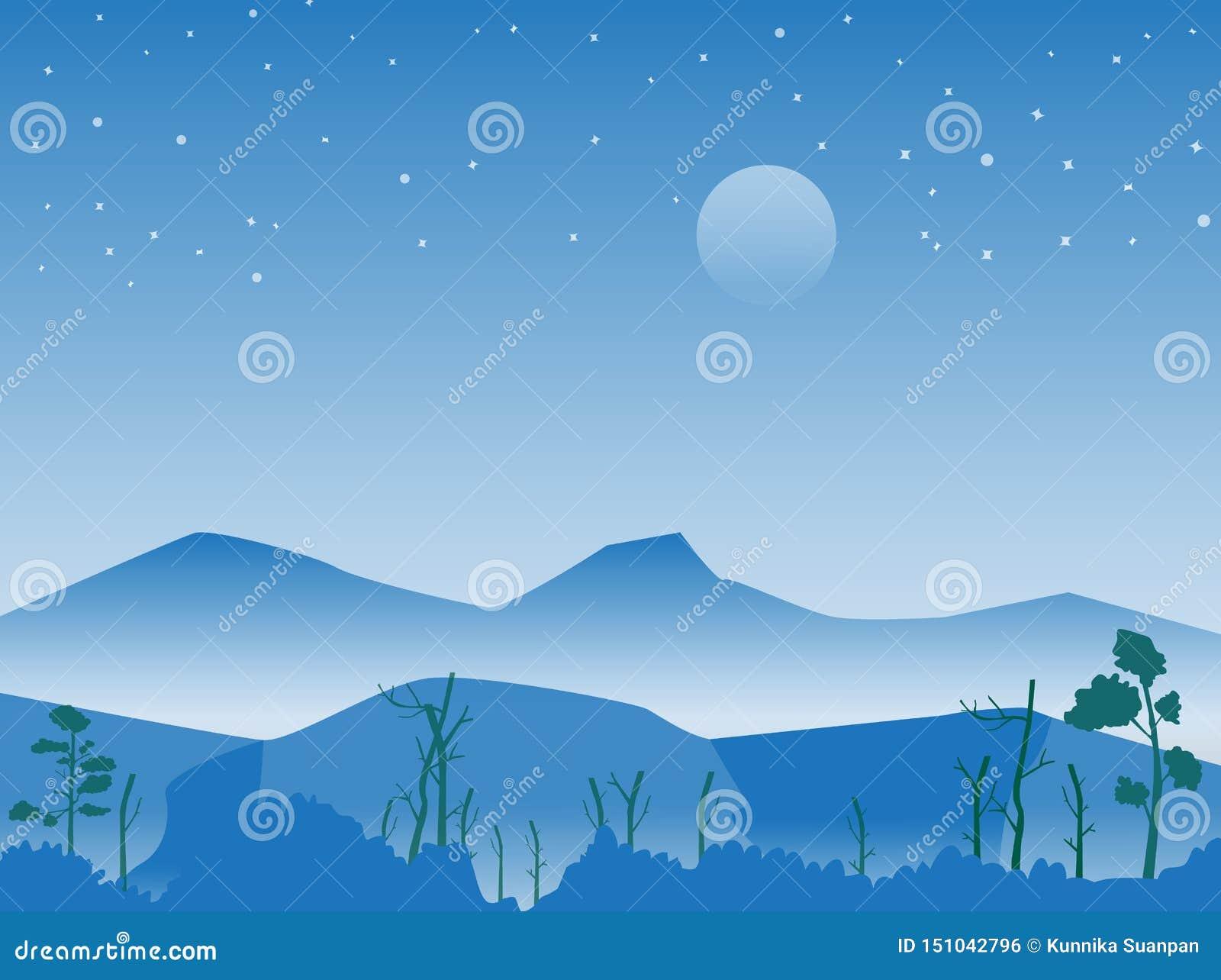 Montagne et forêt à la scène de nuit avec étoilé, image de vecteur