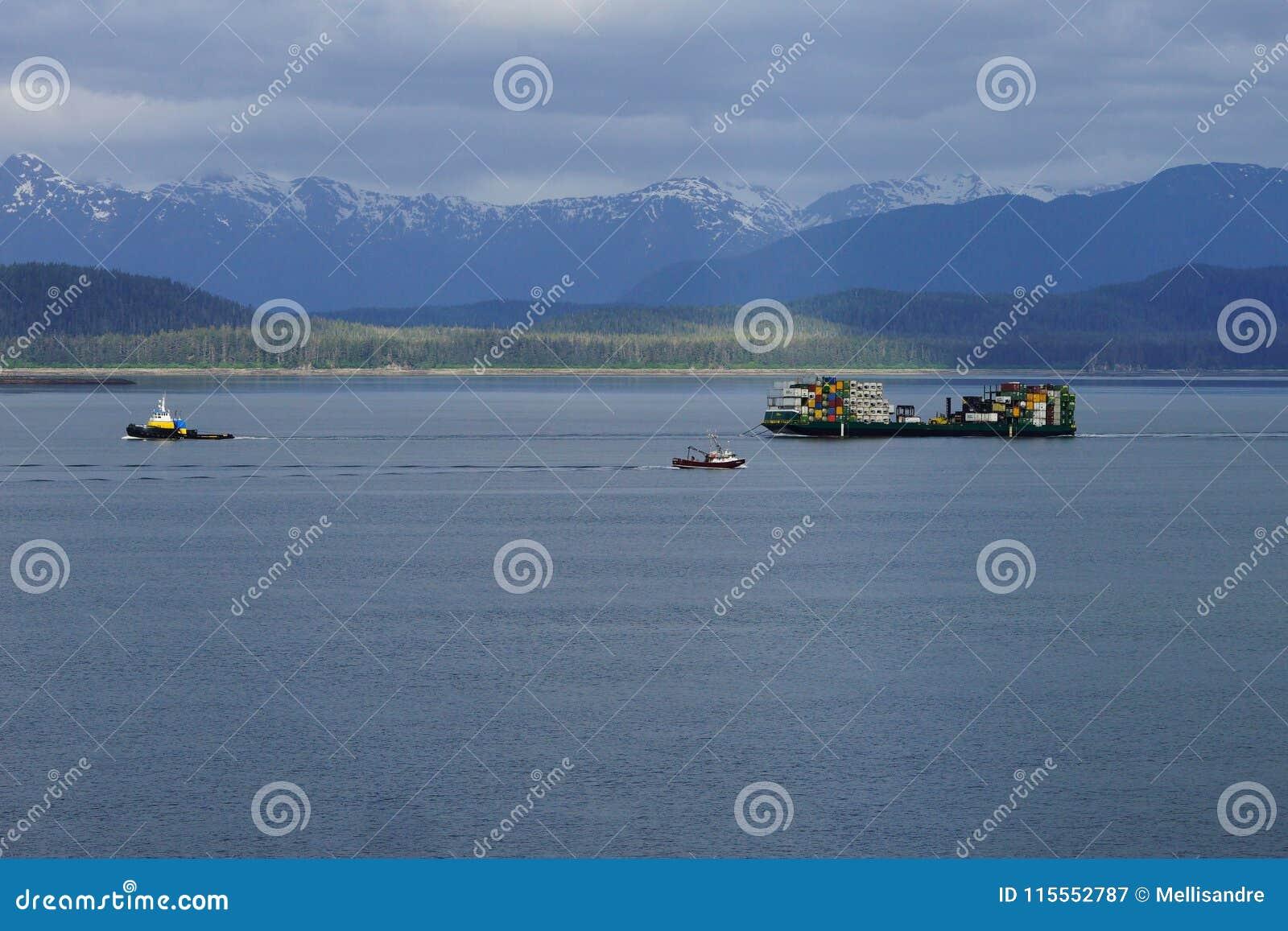 Montagne innevate d Alasca con le navi sulla priorità alta