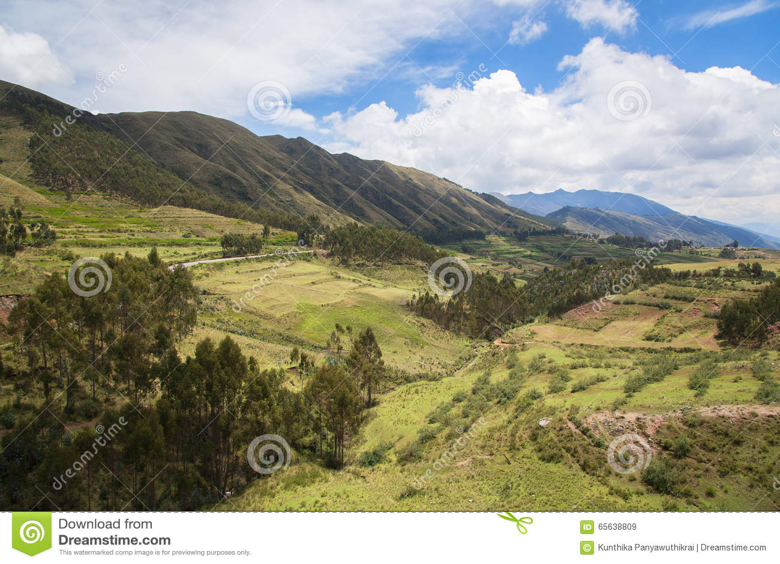 Montagne verte et ciel bleu