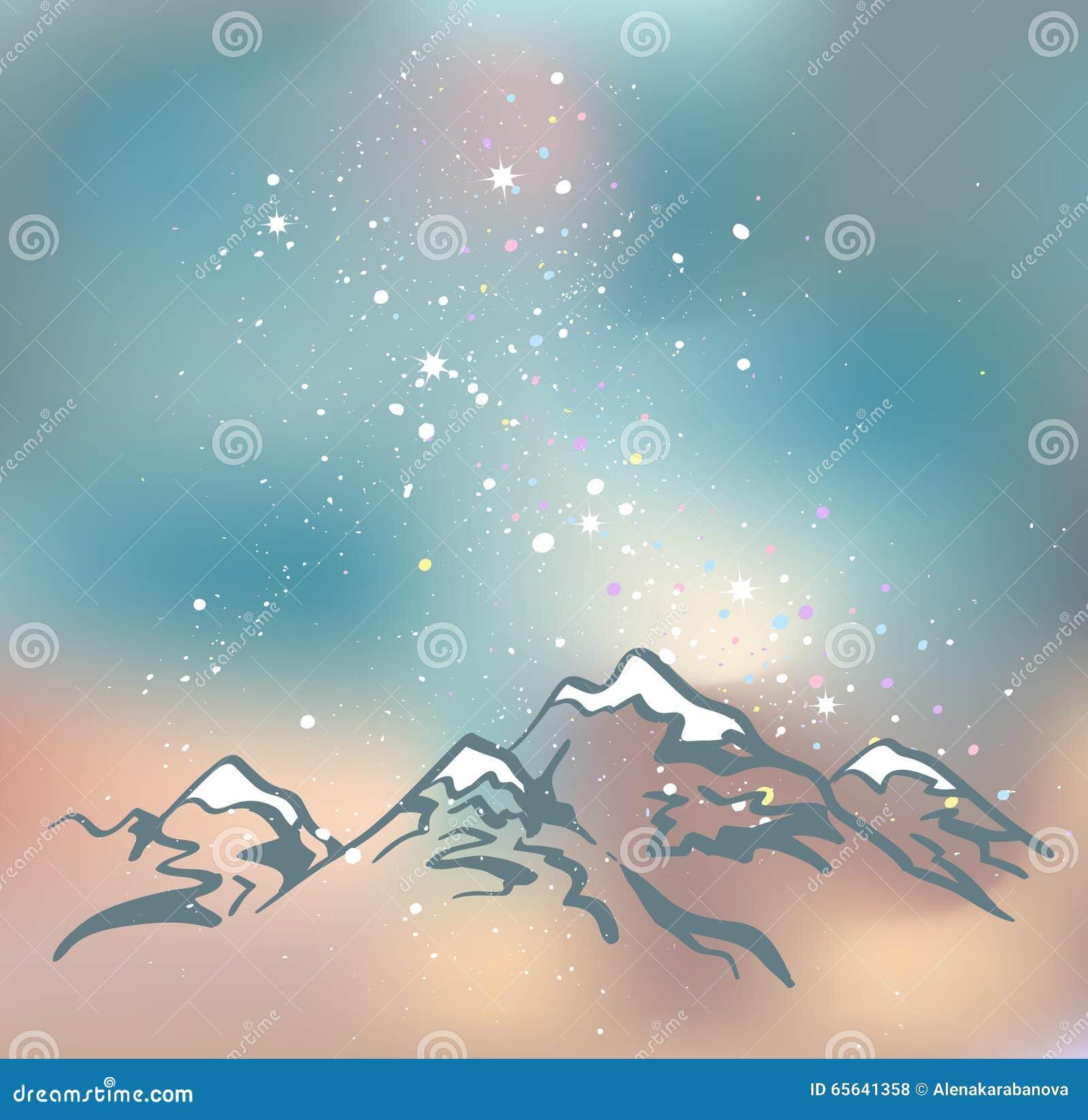 Montagnes à la nuit Fond de l espace de vecteur