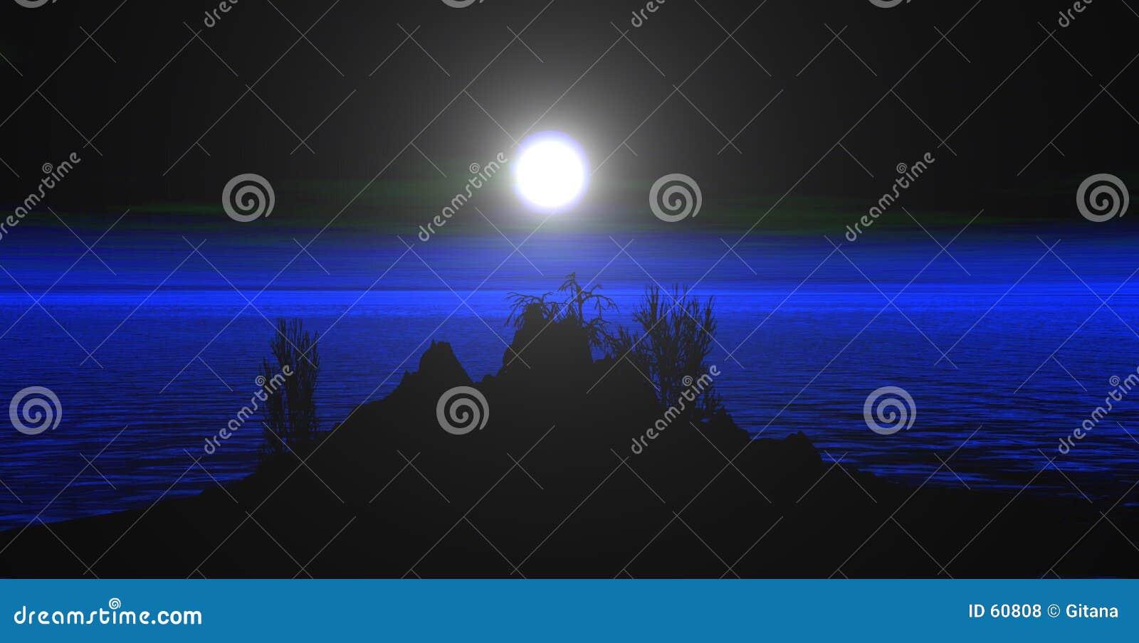 Download Montagnes avec la lune illustration stock. Illustration du internet - 60808