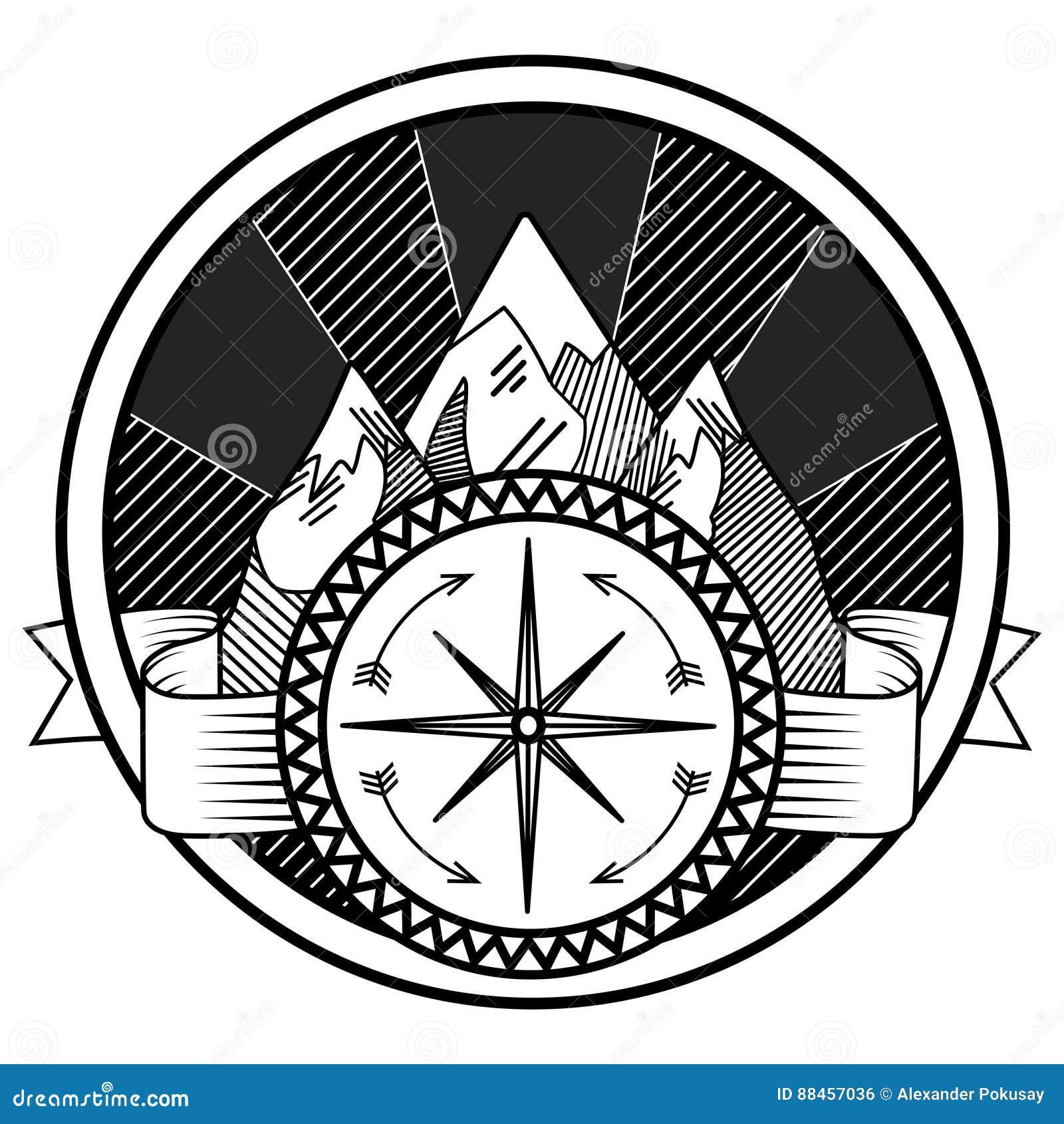 Montagnes Et Vecteur De Tatouage D Abrege Sur Boussole Illustration