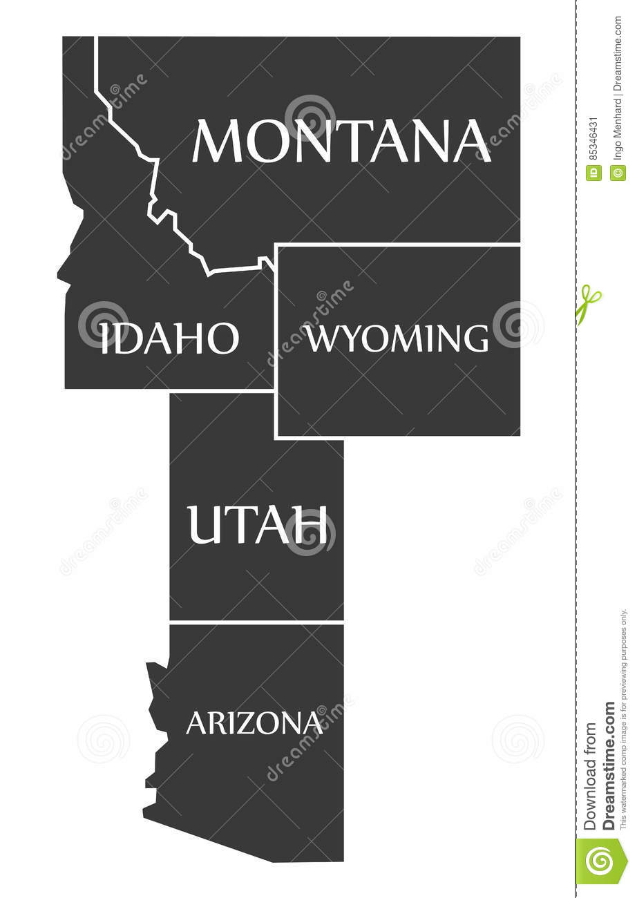 Utah And Idaho Map.Montana Idaho Wyoming Utah Arizona Map Labelled Black Stock