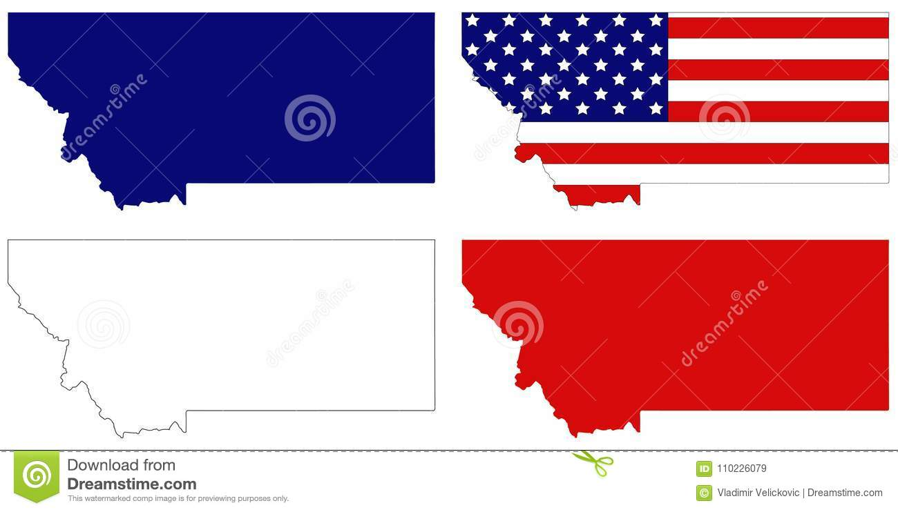 Northwestern States Map.Montana Map With Usa Flag State In The Northwestern Region Of The