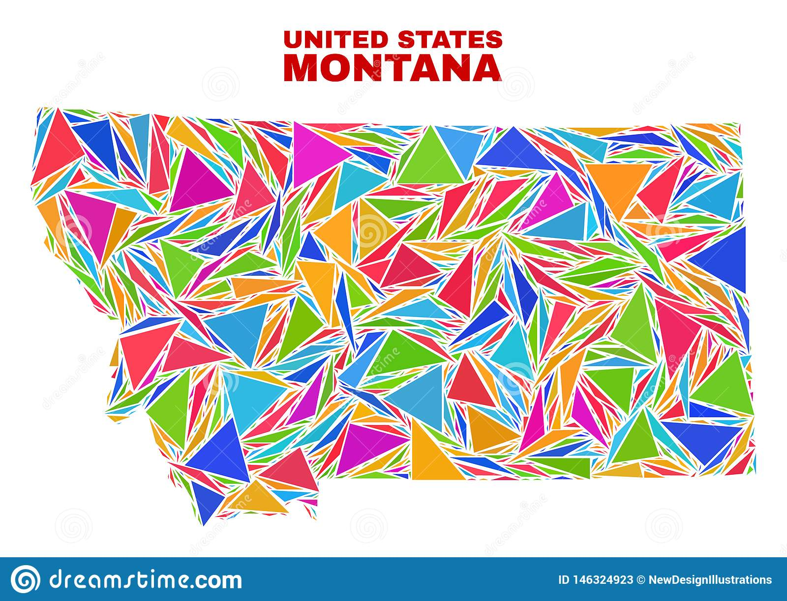 Montana State Map - Mosaic Of Color Triangles Stock Vector ...