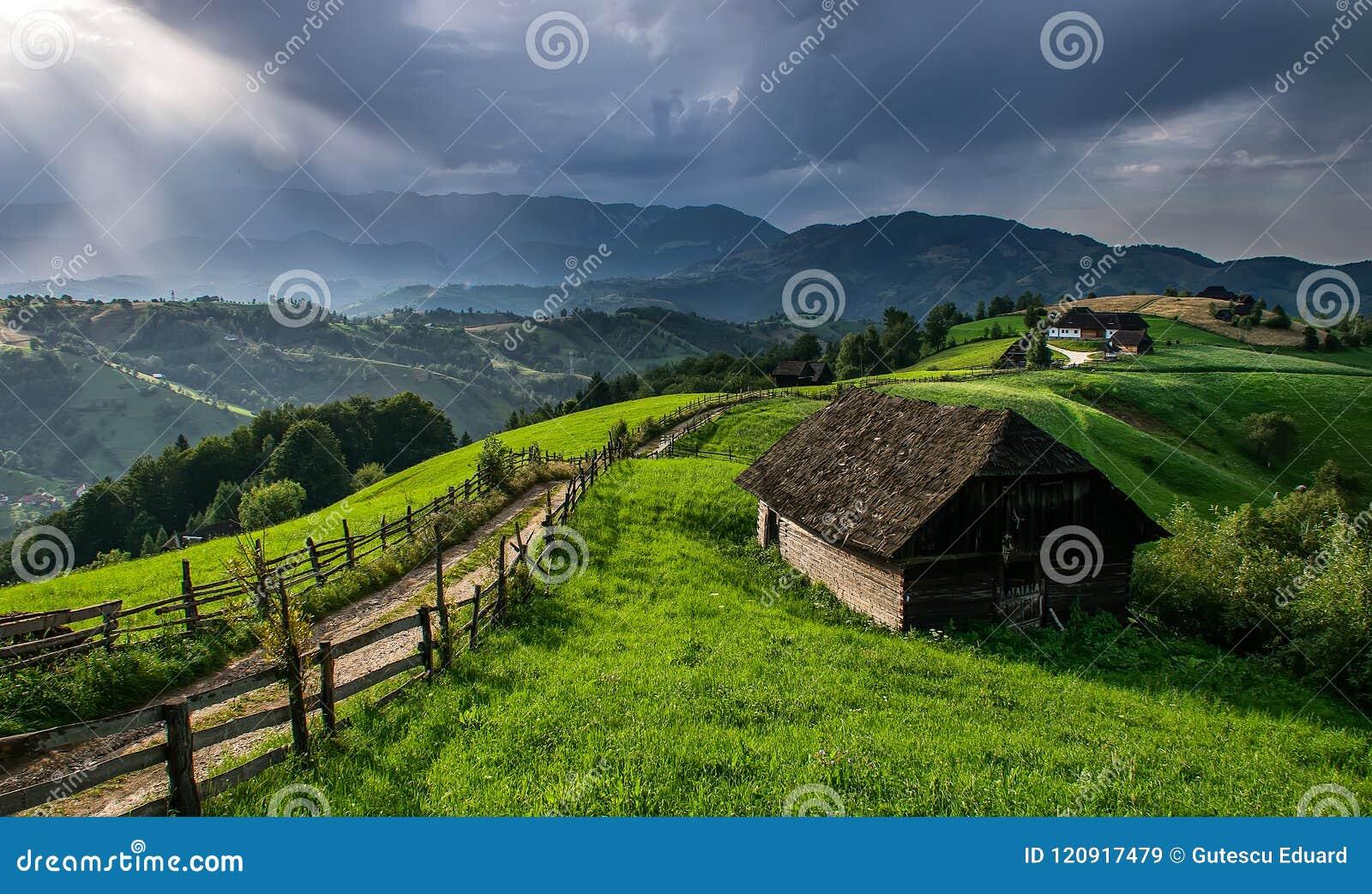 Montanhês e vila romenos nas horas de verão, paisagem da montanha da Transilvânia em Romênia