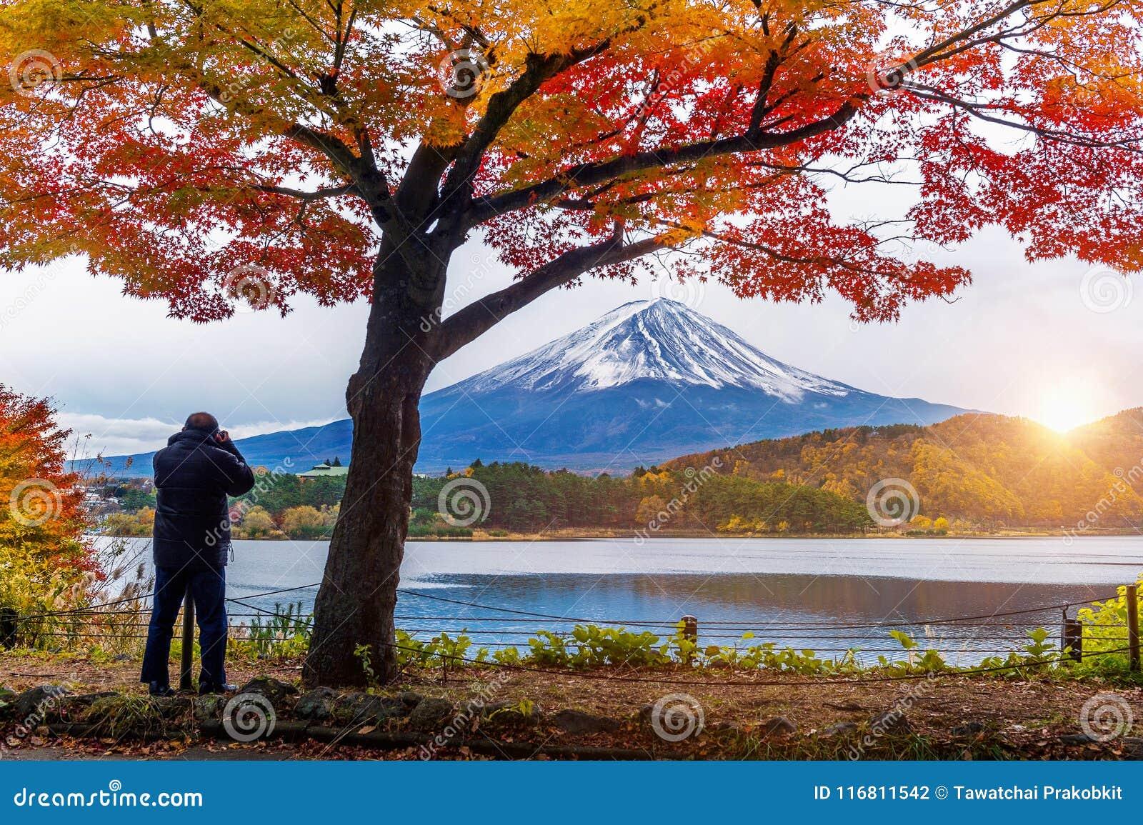 Montanha de Autumn Season e de Fuji no lago Kawaguchiko, Japão O fotógrafo toma uma foto em Fuji mt