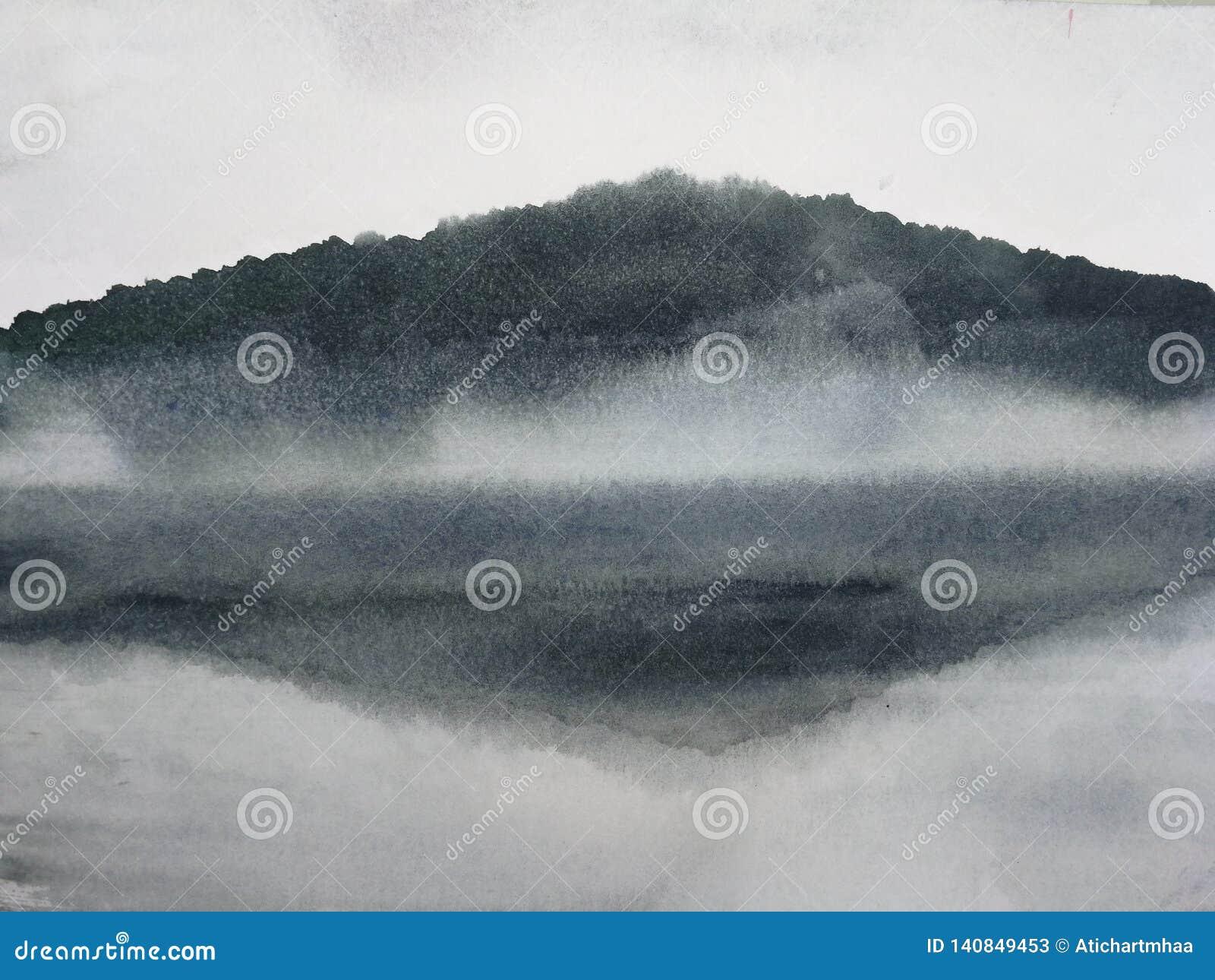 A montanha de pintura da paisagem da tinta da aquarela reflete o rio na névoa