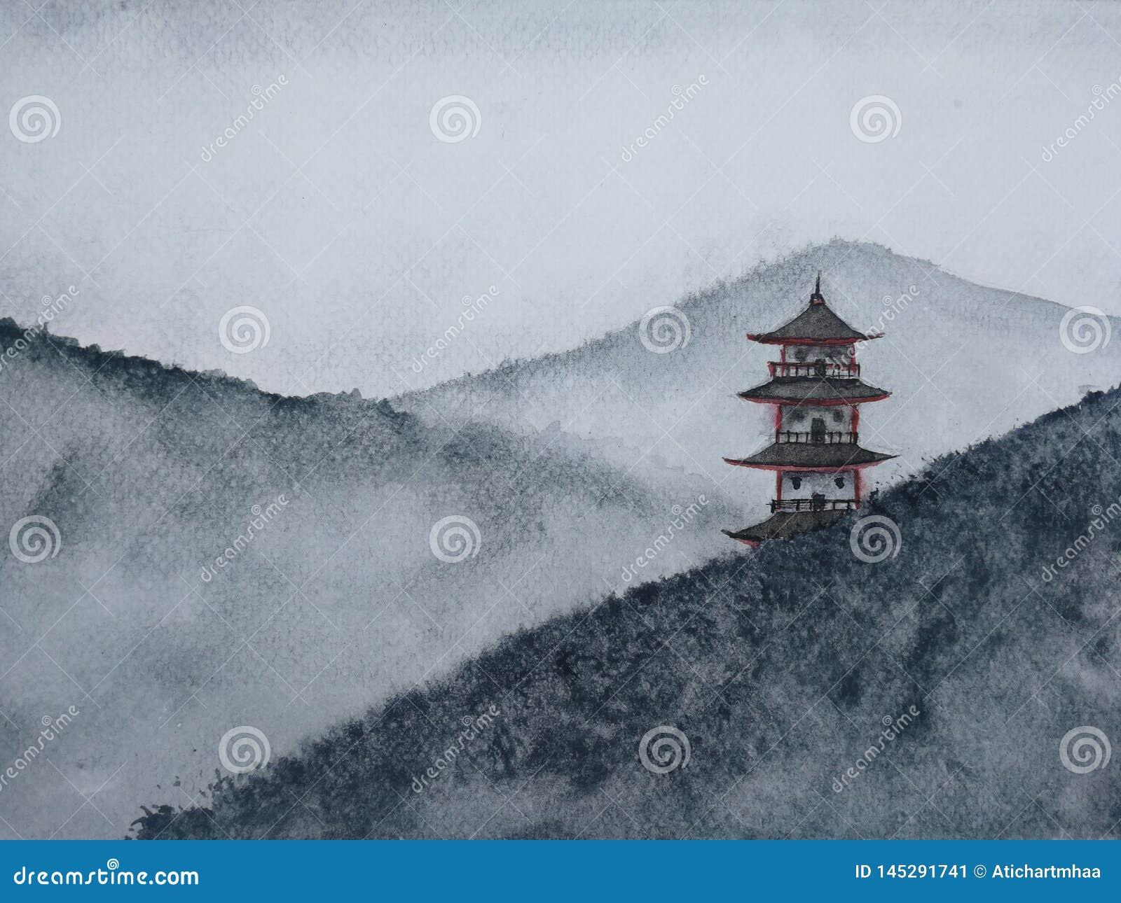 Montanha de pintura tirada m?o do pagode da paisagem da aquarela na n?voa