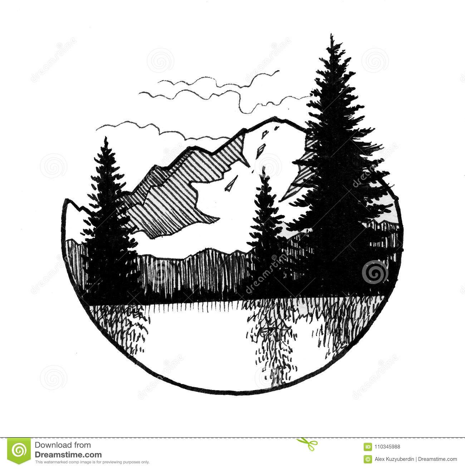 Montanha e árvores
