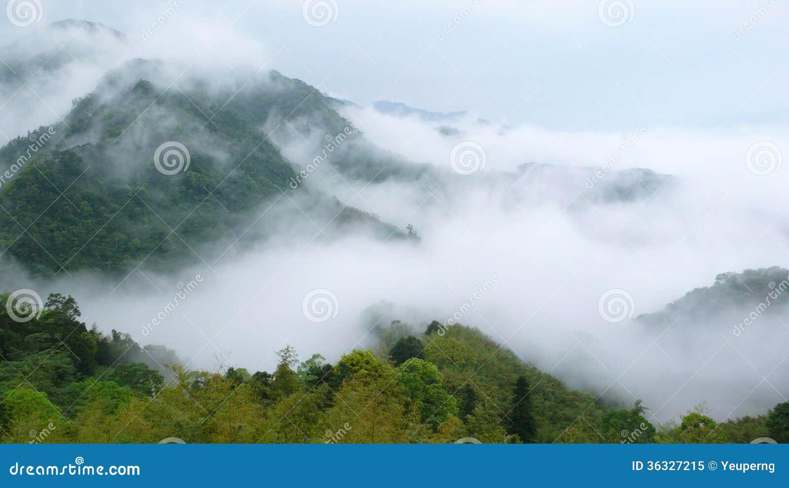Montanha e névoa.