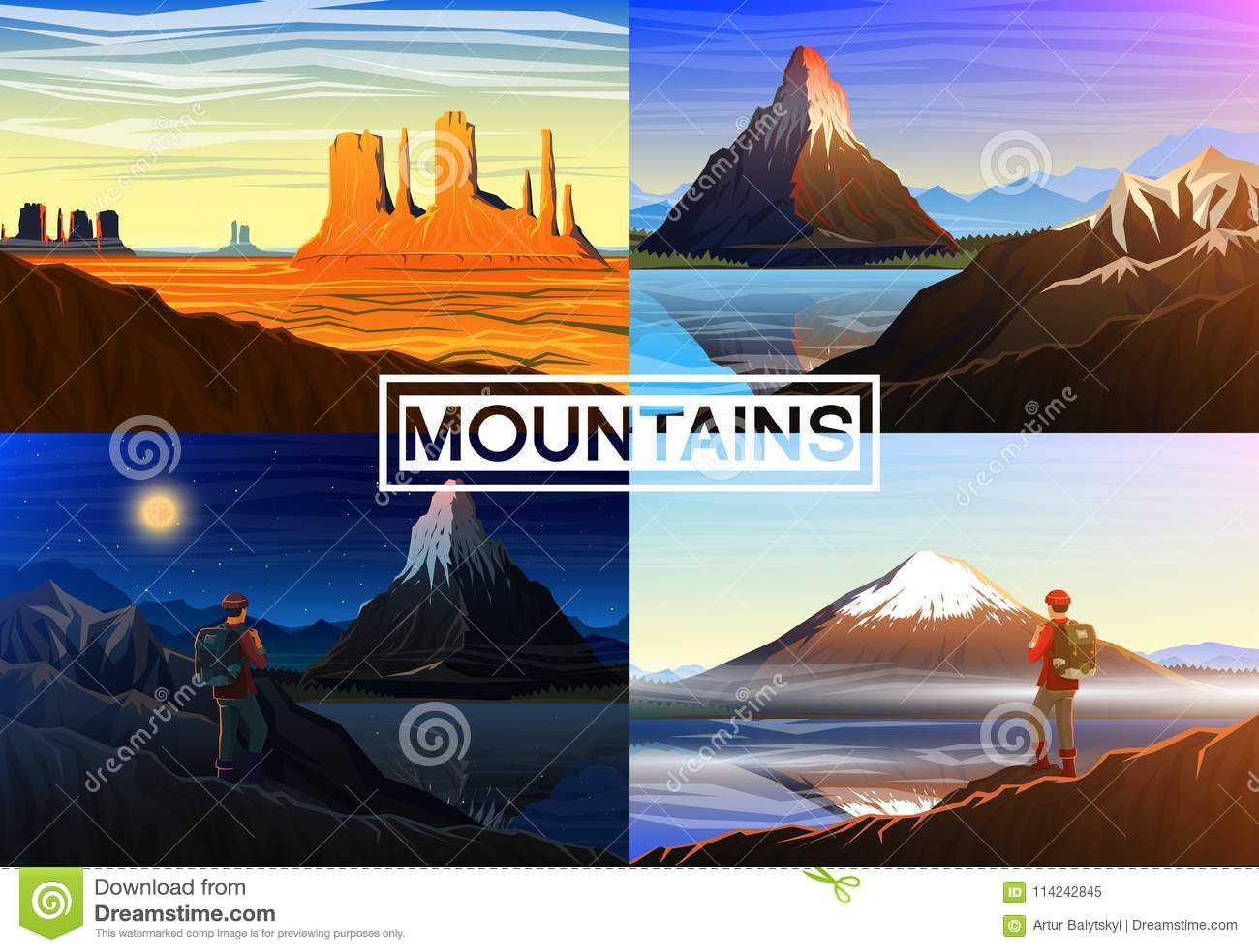 Montanha everest, matterhorn, Fuji com turista, vale do monumento, vista panorâmica da manhã, picos e paisagem outdoor