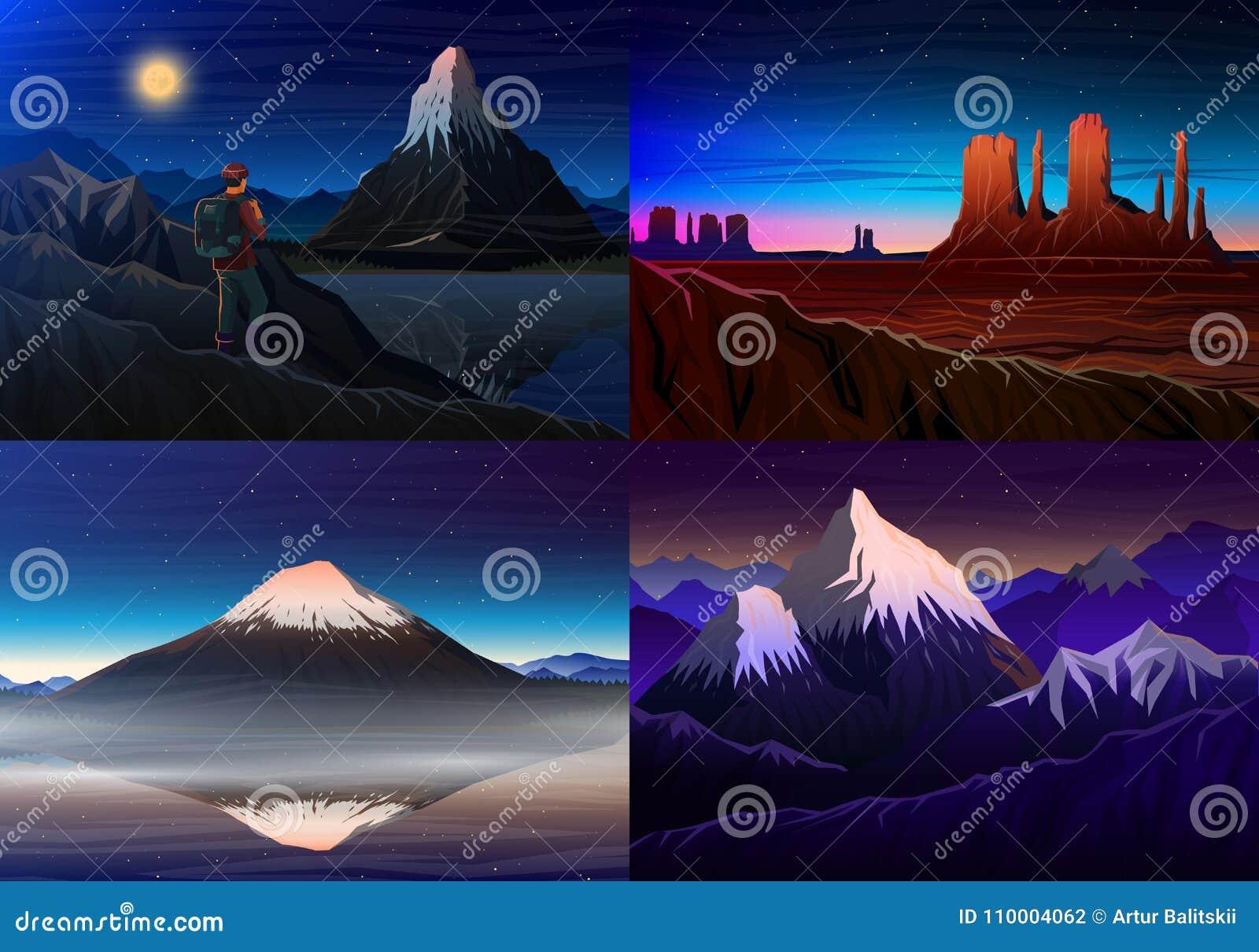 Montanha everest, matterhorn, Fuji com turista, vale do monumento, vista panorâmica da noite, picos, paisagem cedo dentro