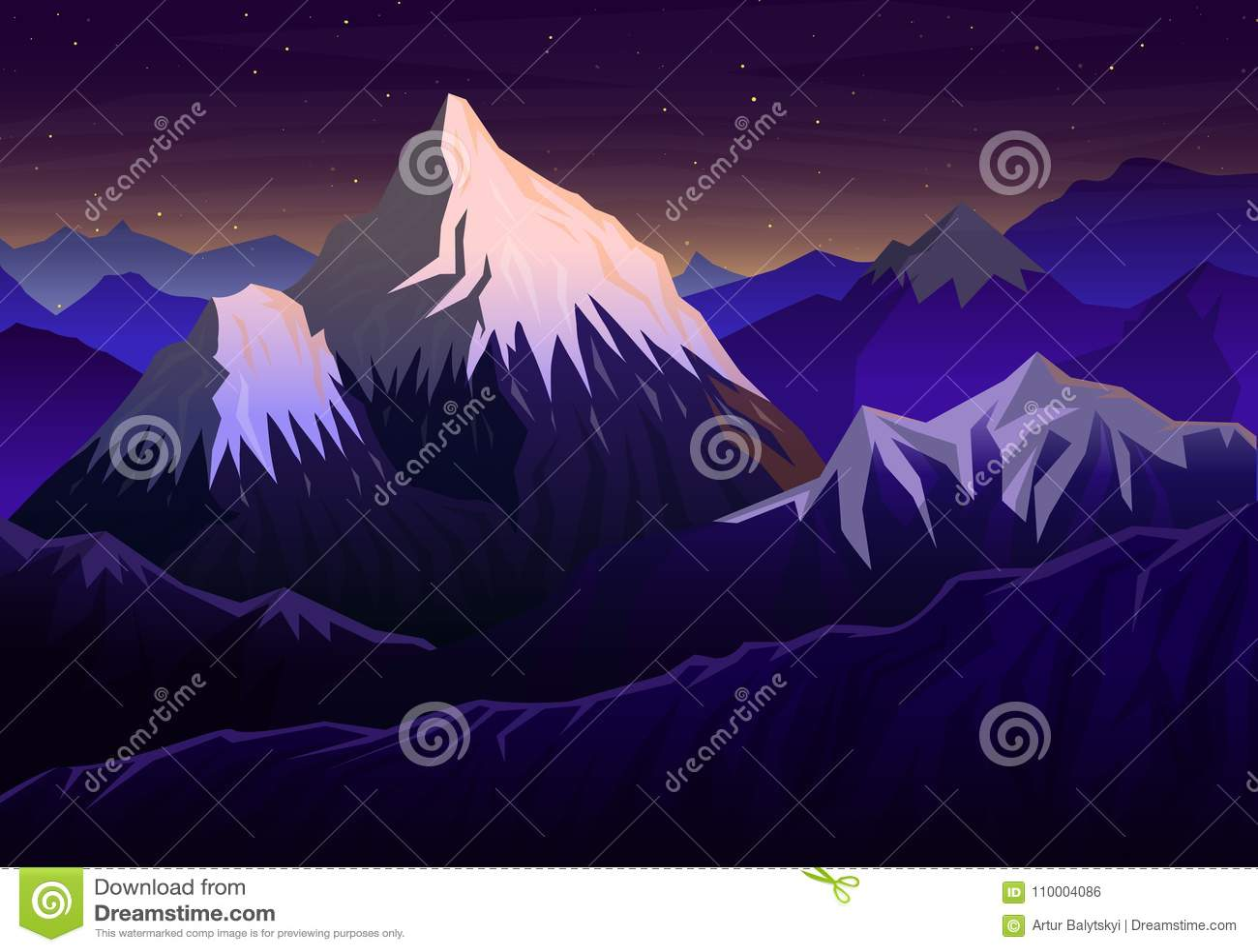 Montanha everest, nivelamento panorâmico com opinião do por do sol e picos, paisagem cedo em uma luz do dia curso ou acampamento