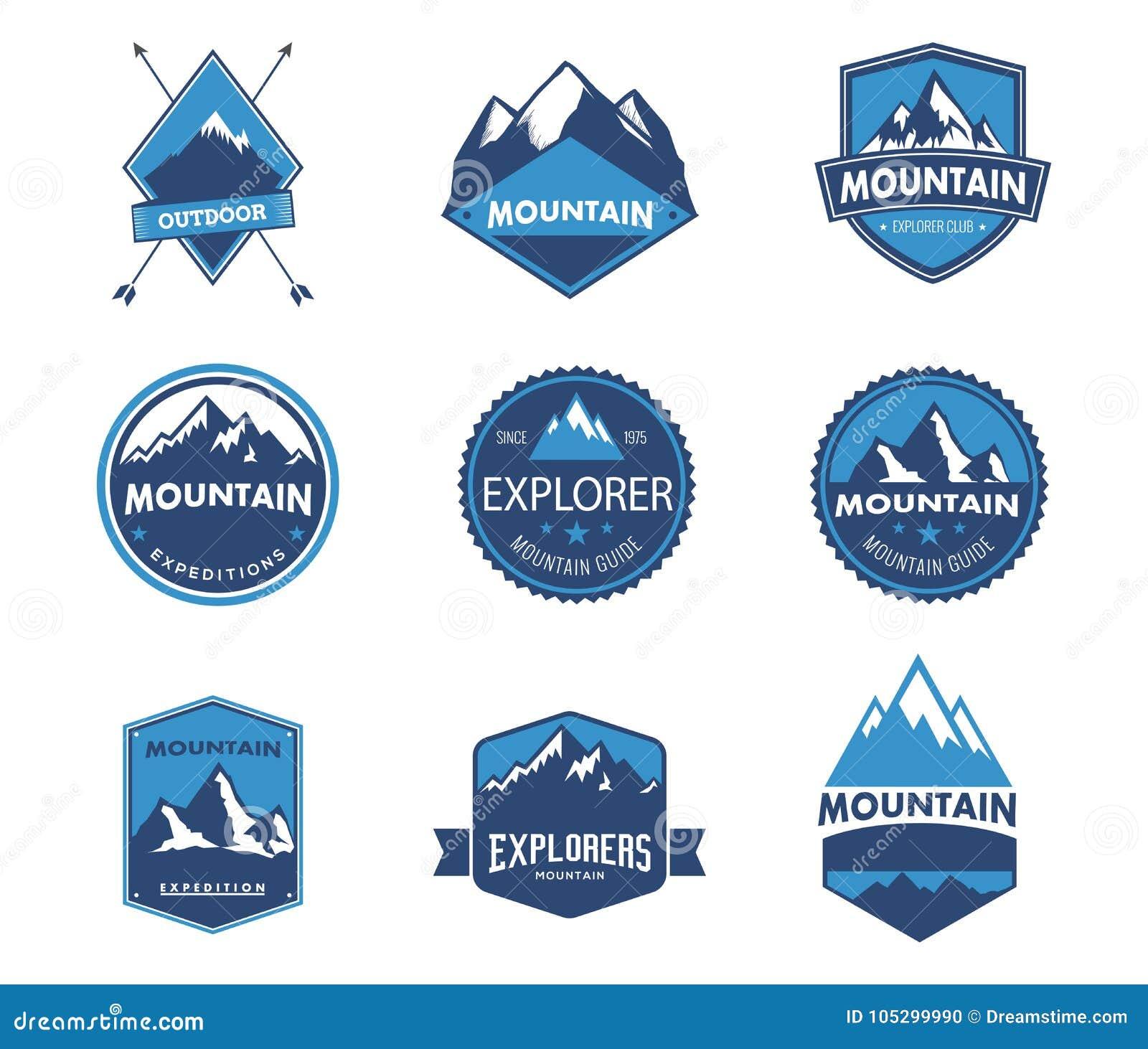 Montanha, natureza, azul, paisagem, eco, logotipo