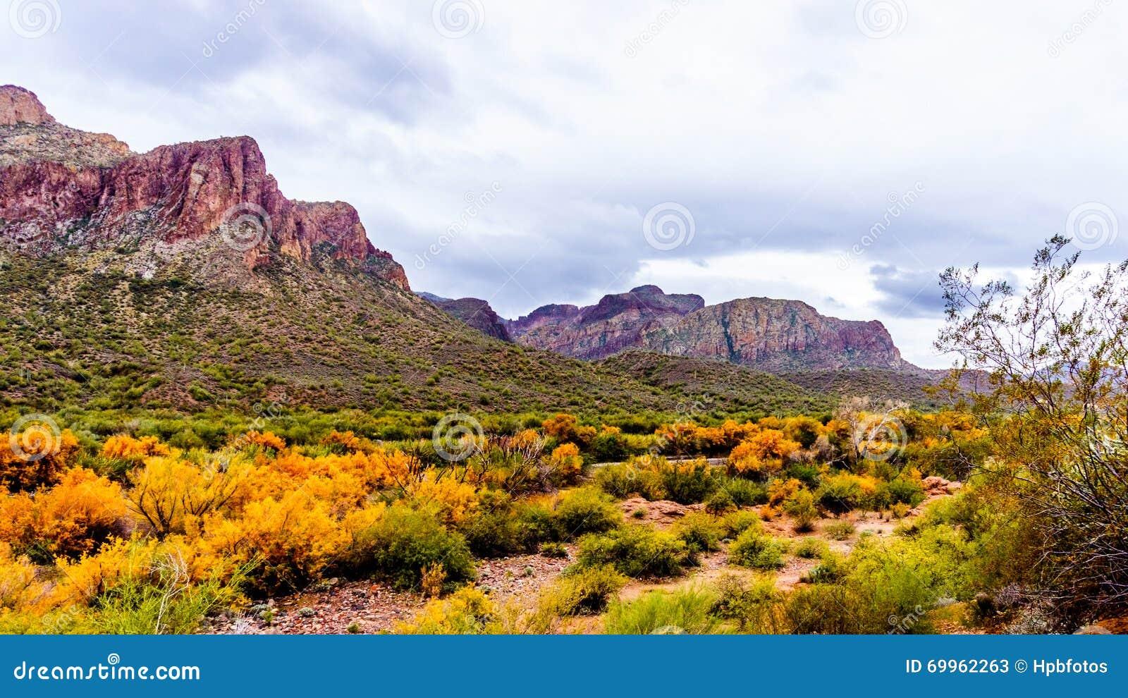 Montanhas ásperas ao longo do Salt River no Arizona central no Estados Unidos da América