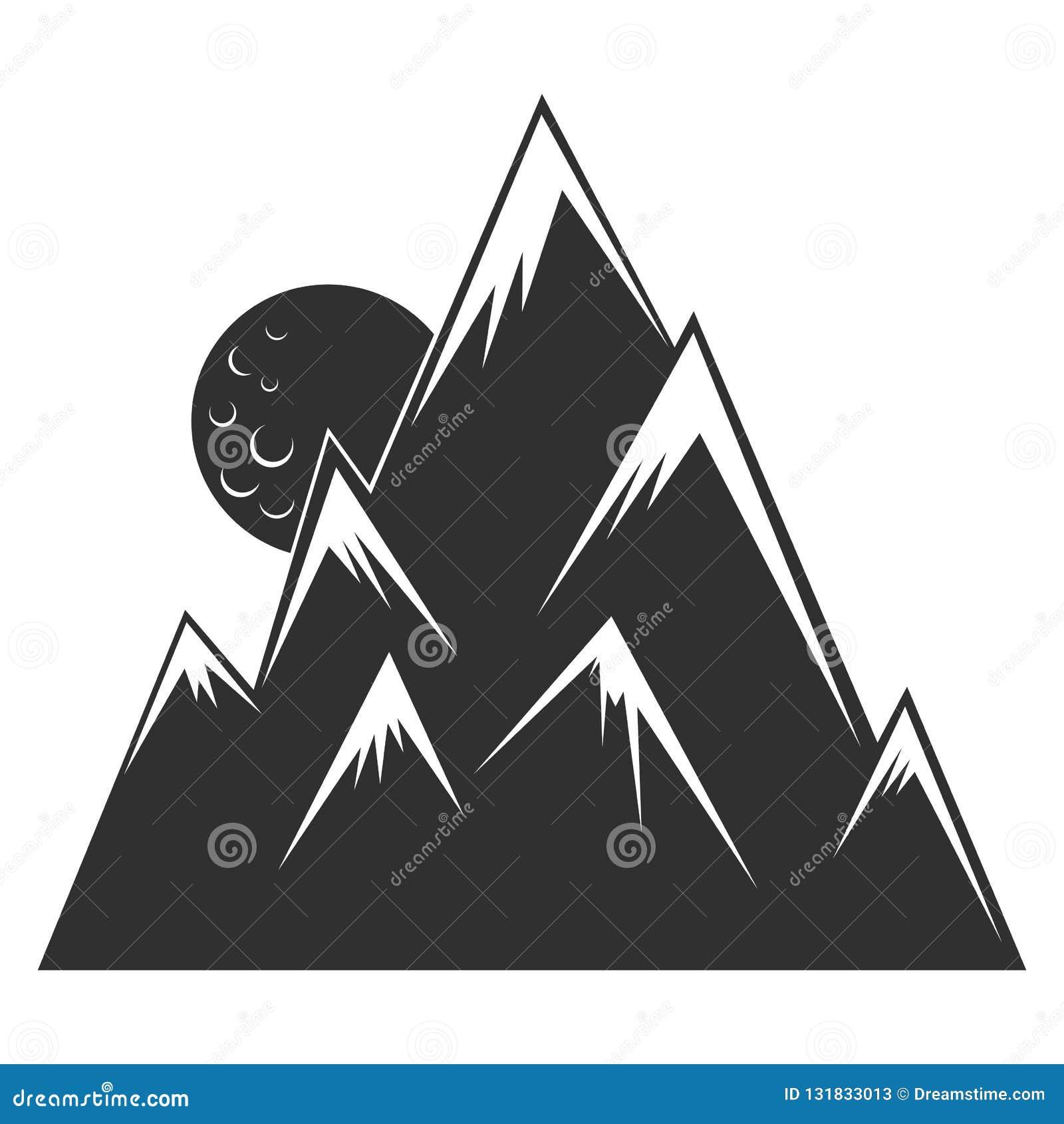 Montanhas com picos afundados Lua Estilo da gravura