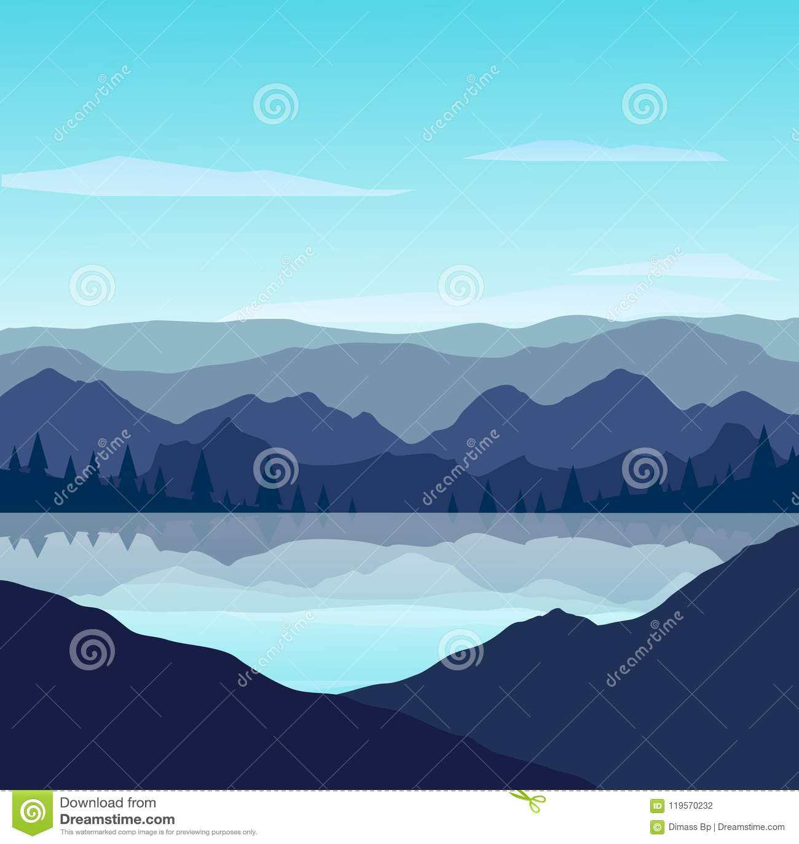 Montanhas com reflexão no lago no dia ensolarado
