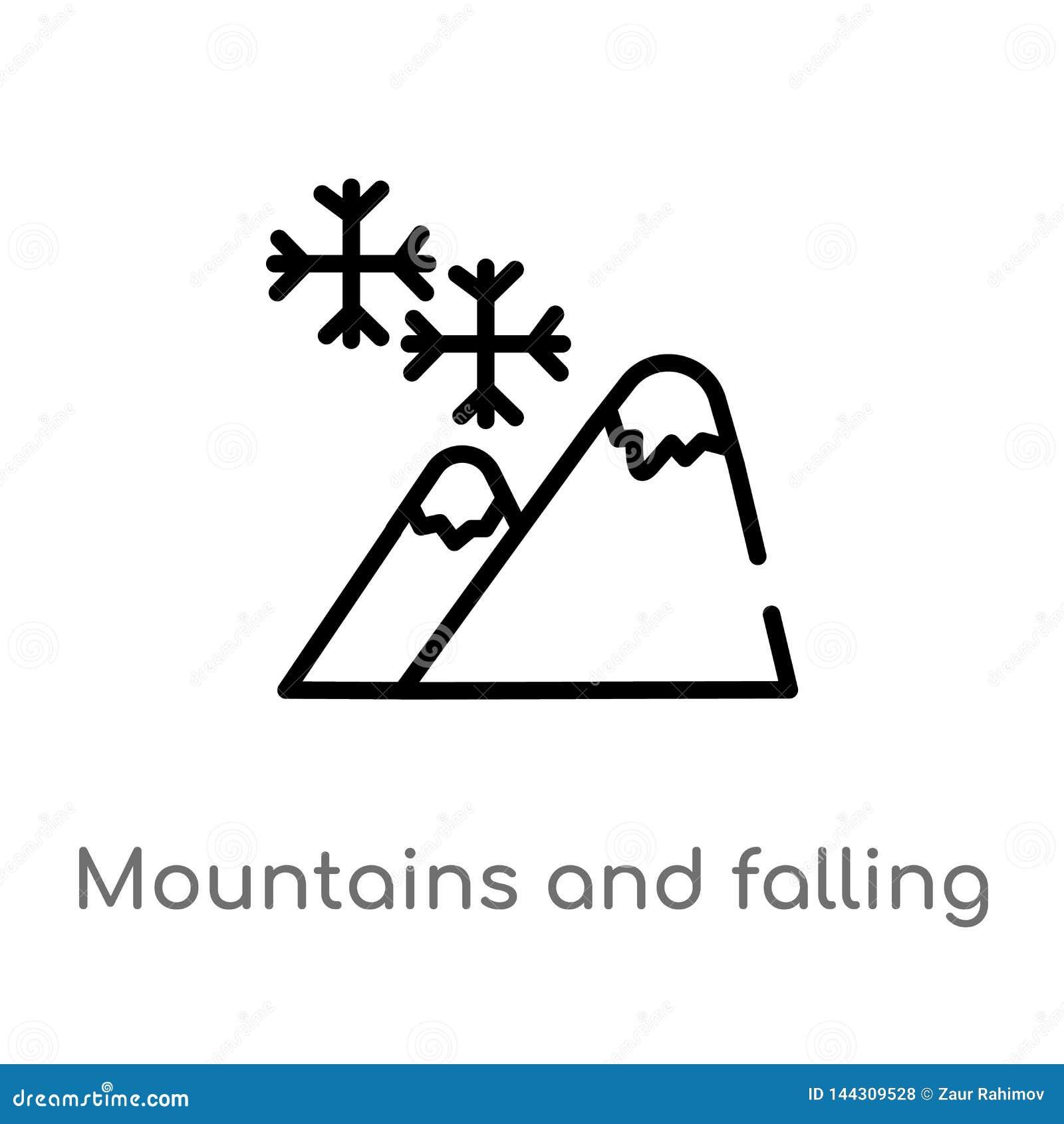Montanhas do esbo?o e ?cone de queda do vetor dos flocos de neve linha simples preta isolada ilustra??o do elemento do conceito d
