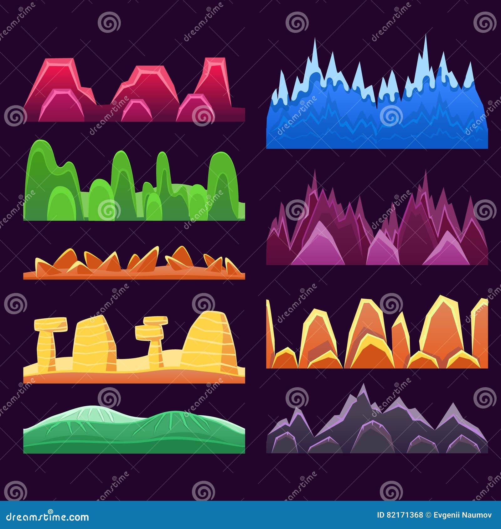 Montanhas estrangeiras e deserto colorido que ajardinam testes padrões sem emenda do fundo para o 2D projeto de jogo de Platforme