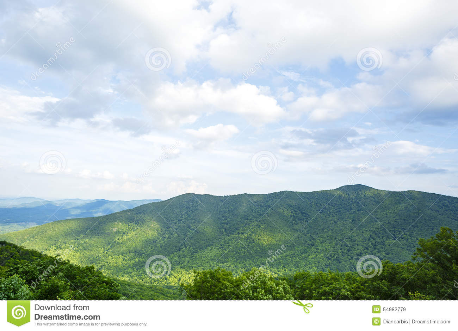 Montanhas no parque nacional de Shenandoah