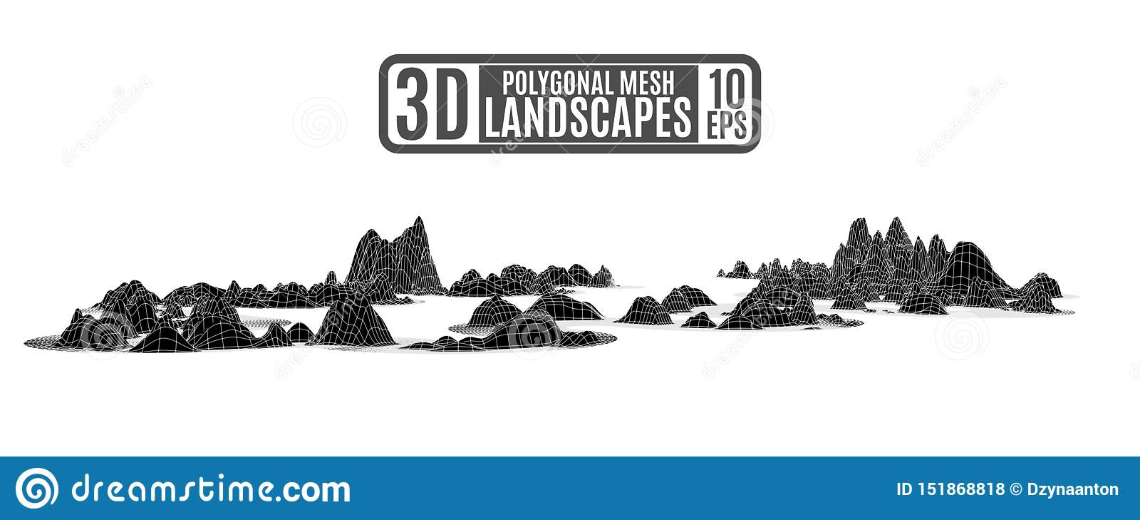 Montanhas poligonais pretas no estilo do relevo do computador para uma apresentação