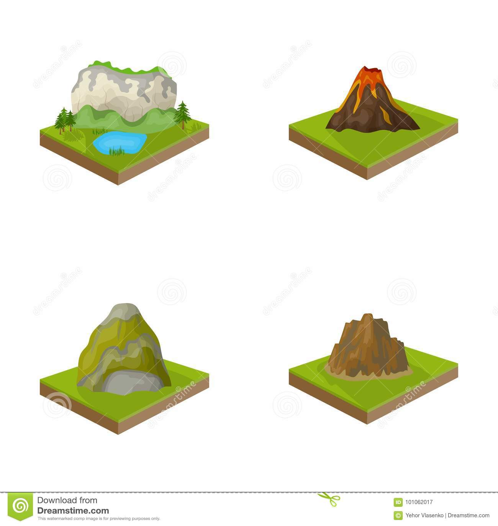 Montanhas, rochas e paisagem O relevo e as montanhas ajustaram ícones da coleção no estoque isométrico do símbolo do vetor do est