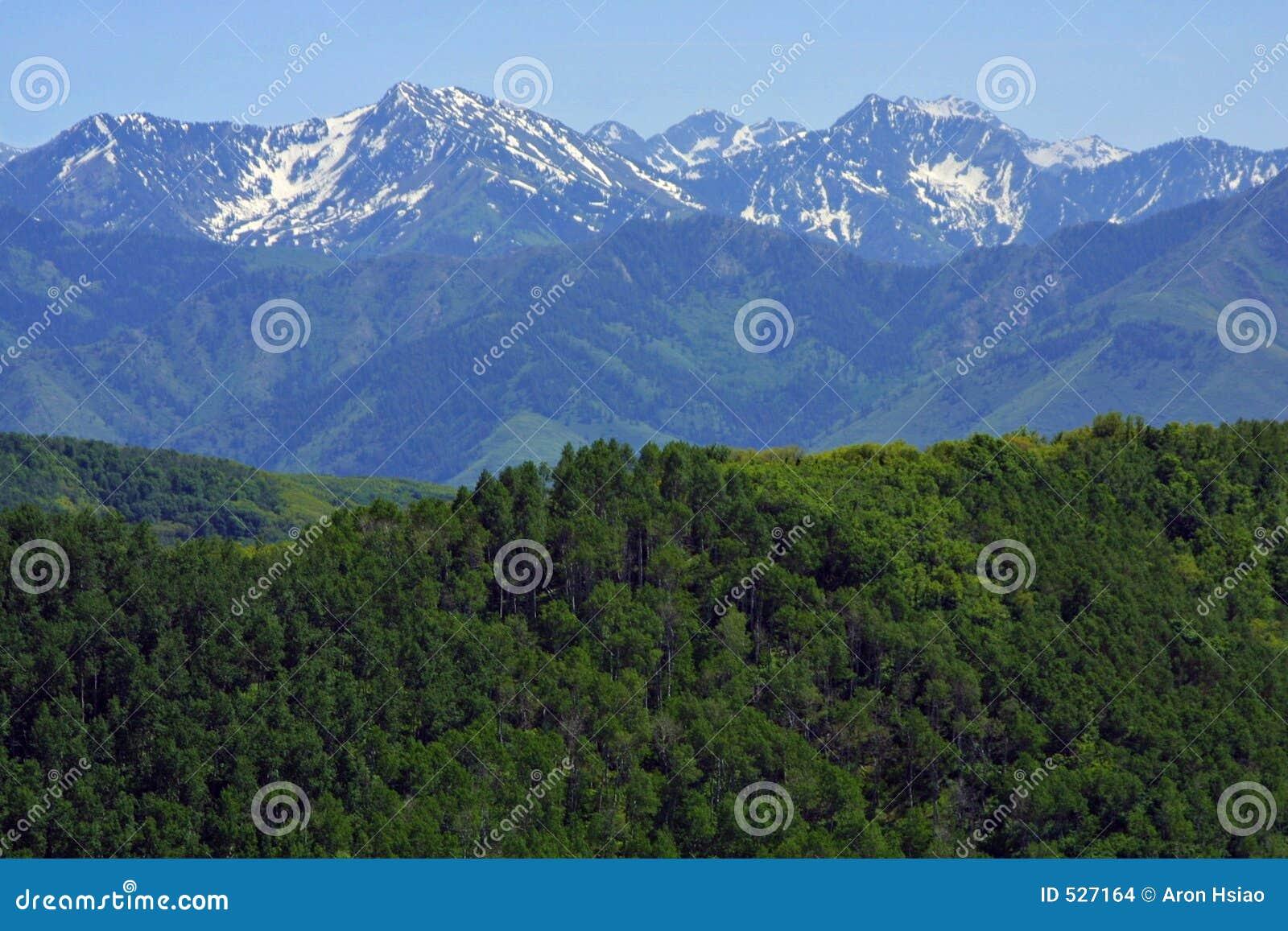 Montanhas rochosas que esticam na distância