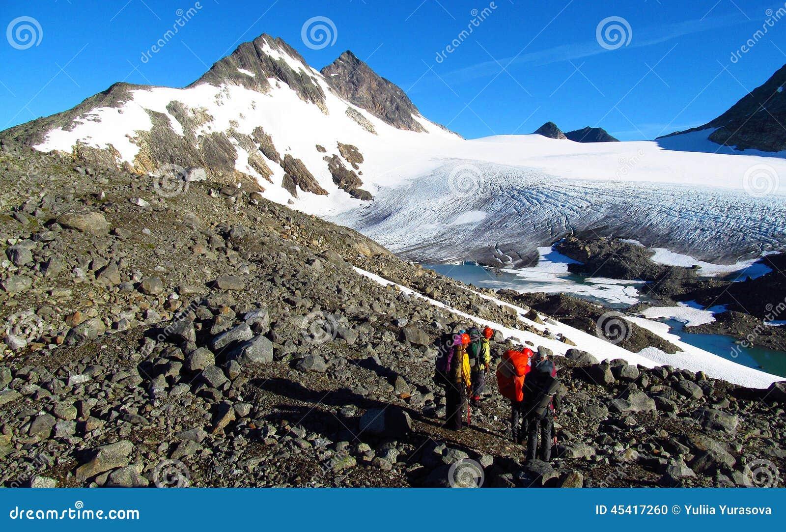 Montanhistas dos povos, escalando à cimeira, aos picos de montanha rochosa e à geleira em Noruega