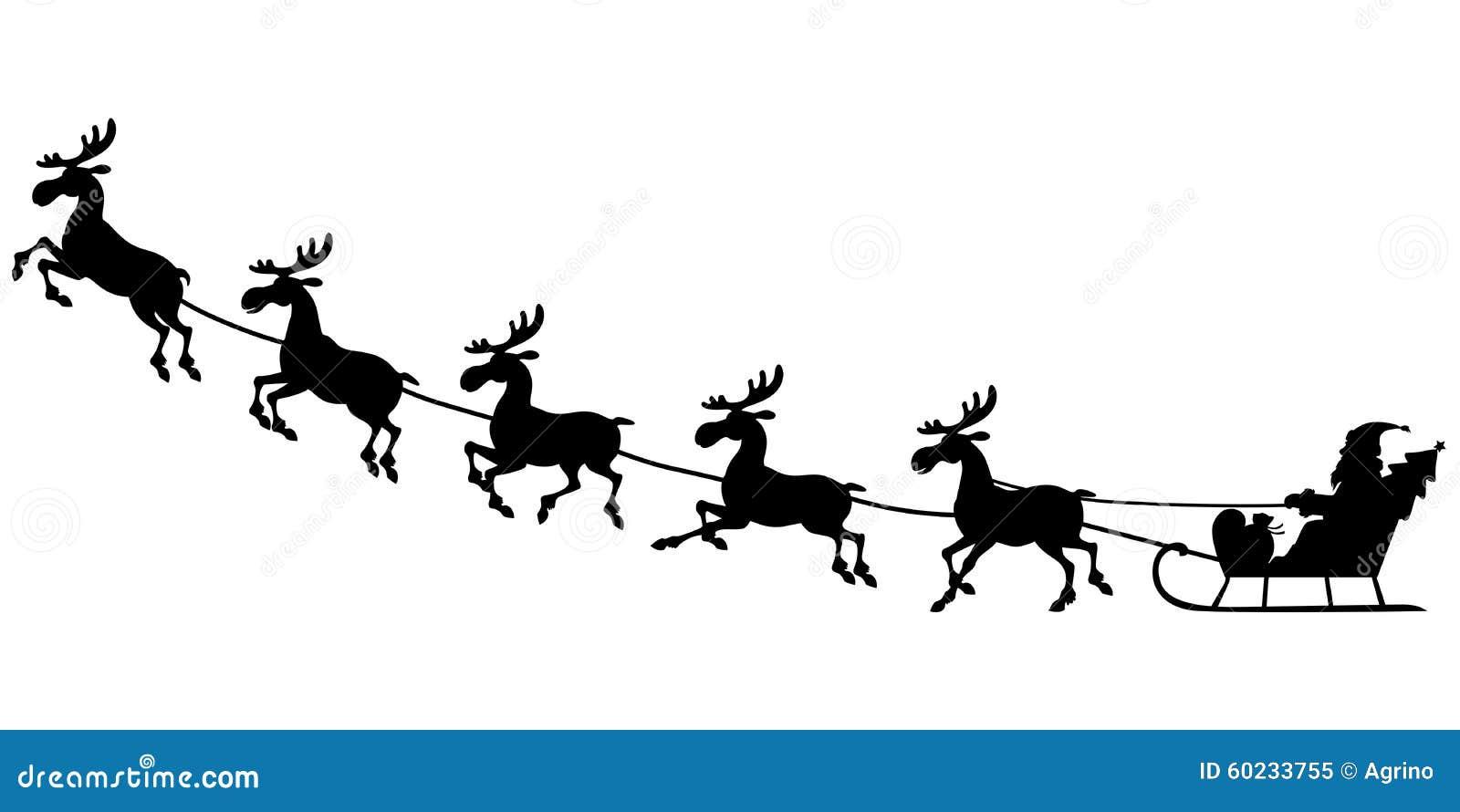 Montar a caballo de Papá Noel de la silueta en trineo del reno