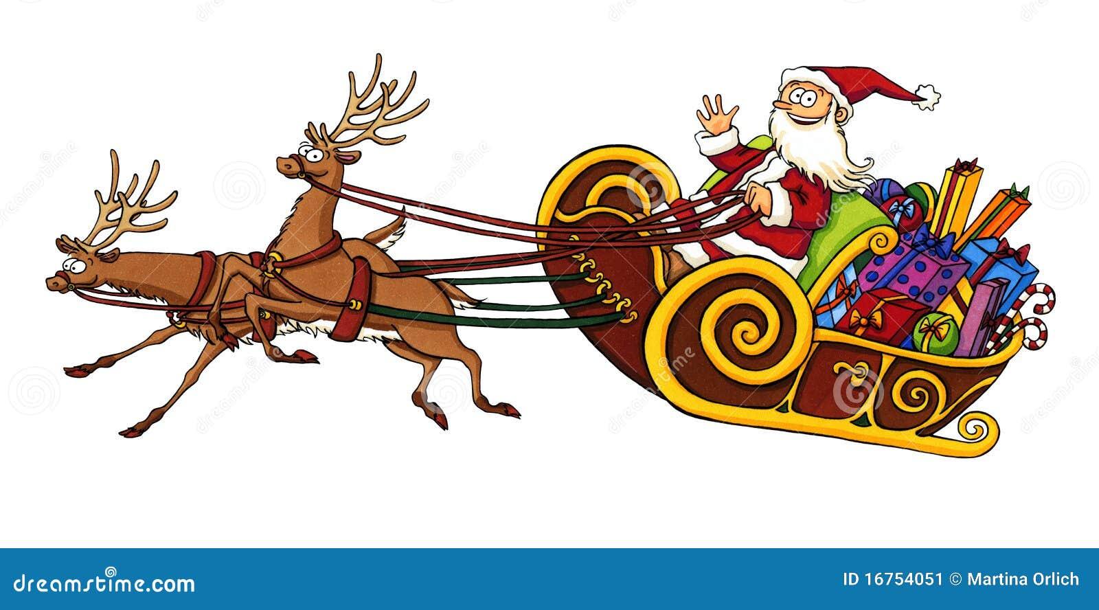 Montar a caballo de Papá Noel en un trineo