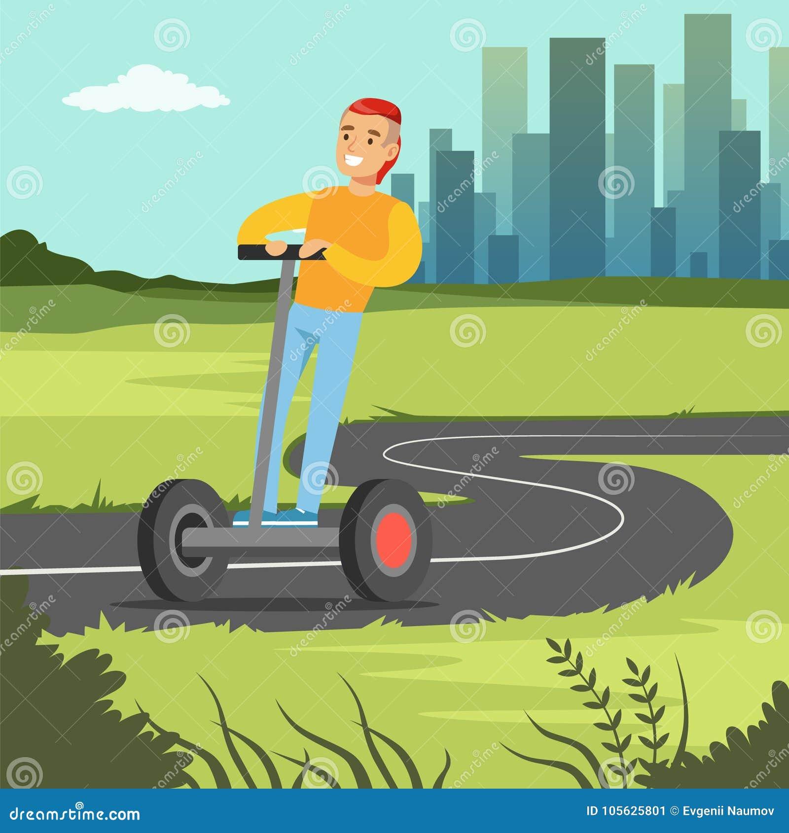 Montar a caballo sonriente joven del hombre en la vespa en el fondo de la ciudad, ejemplo eléctrico del vector del vehículo de do