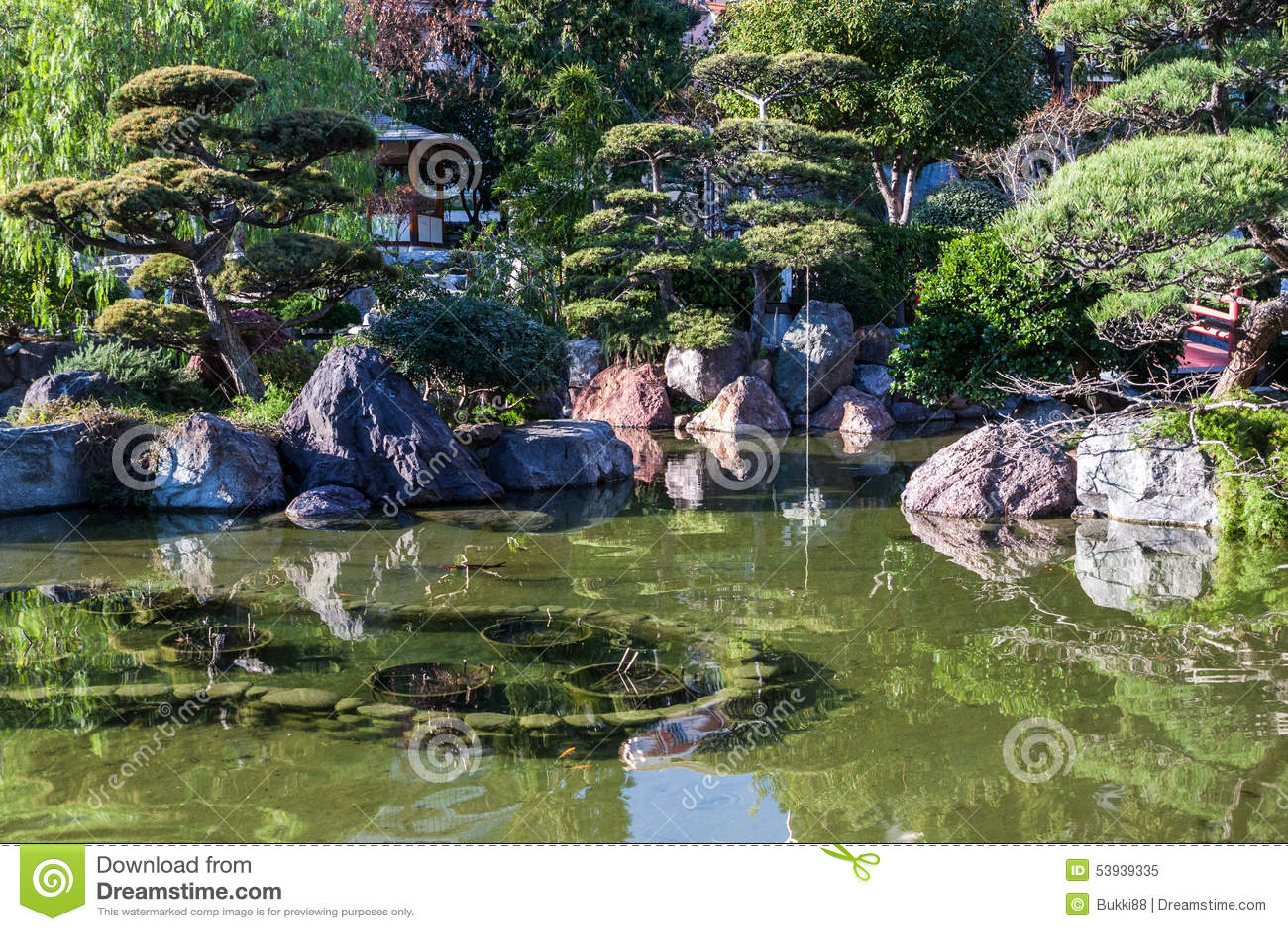 Monte Carlo Japanese Garden Stock Photo Image 53939335