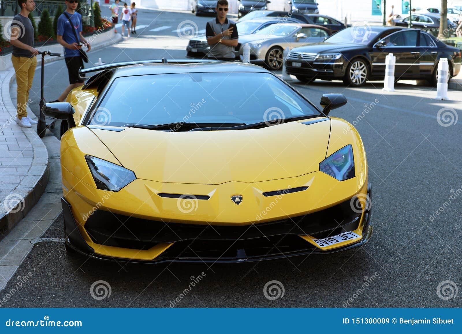 Black And Yellow Lamborghini SVJ , Front View Editorial