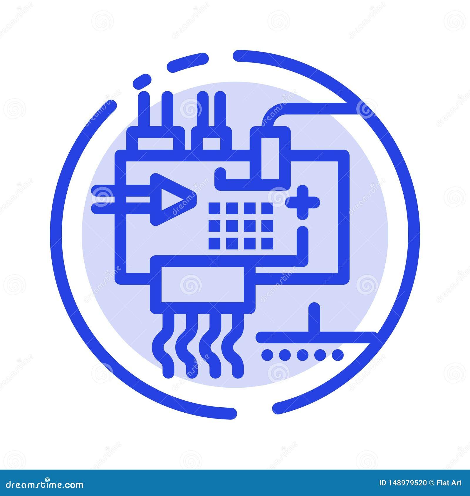 Monte, modifique para requisitos particulares, electrónica, ingeniería, línea de puntos azul línea icono de las piezas