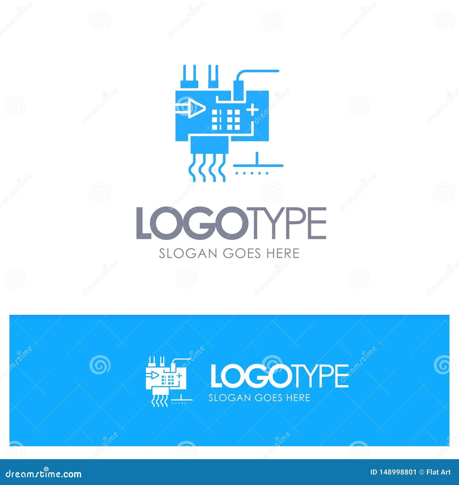 Monte, modifique para requisitos particulares, electrónica, ingeniería, logotipo sólido azul de las piezas con el lugar para el t
